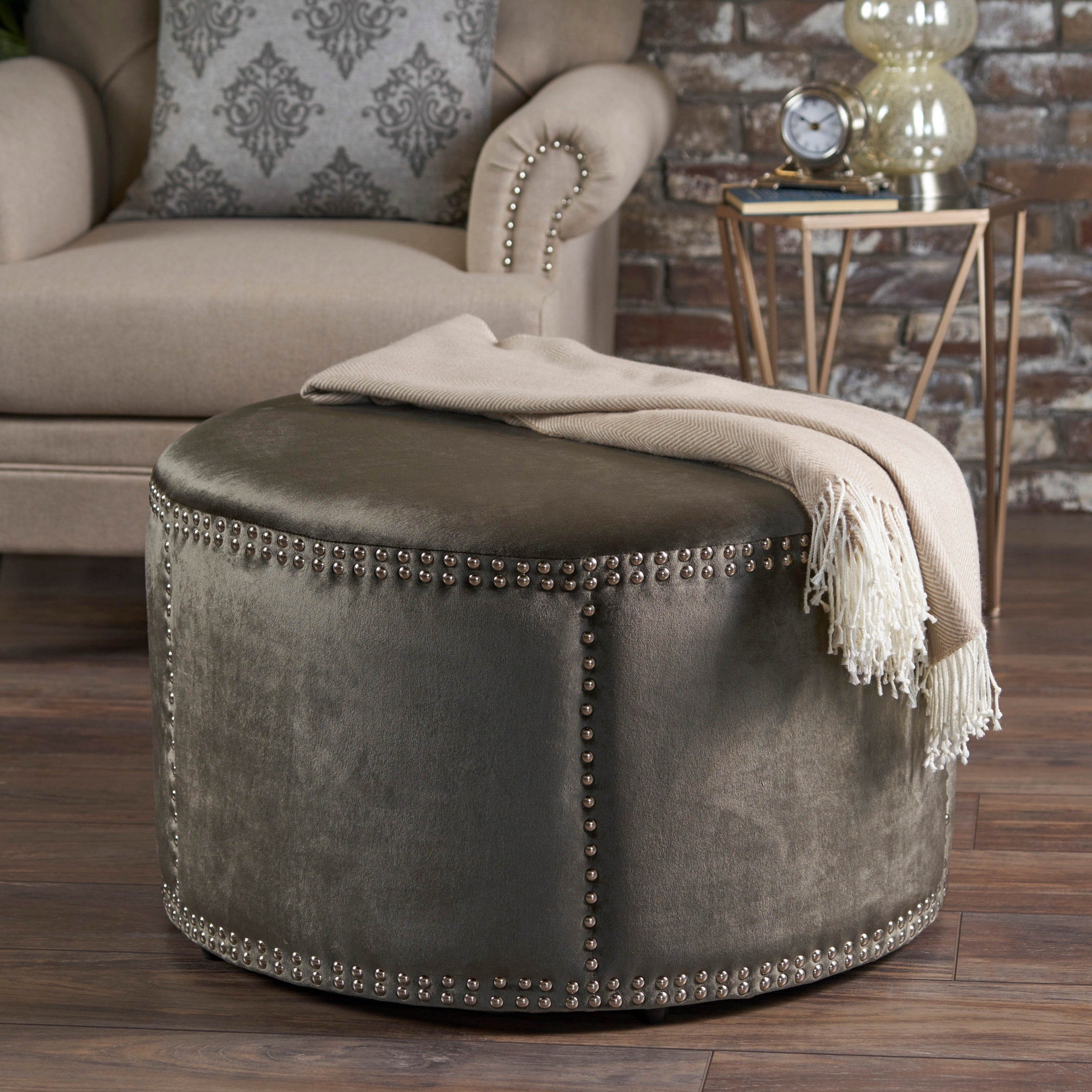 Shop Jaewon Studded Velvet Round Ottoman Stool By Christopher Knight Home    On Sale   Free Shipping Today   Overstock   17904328