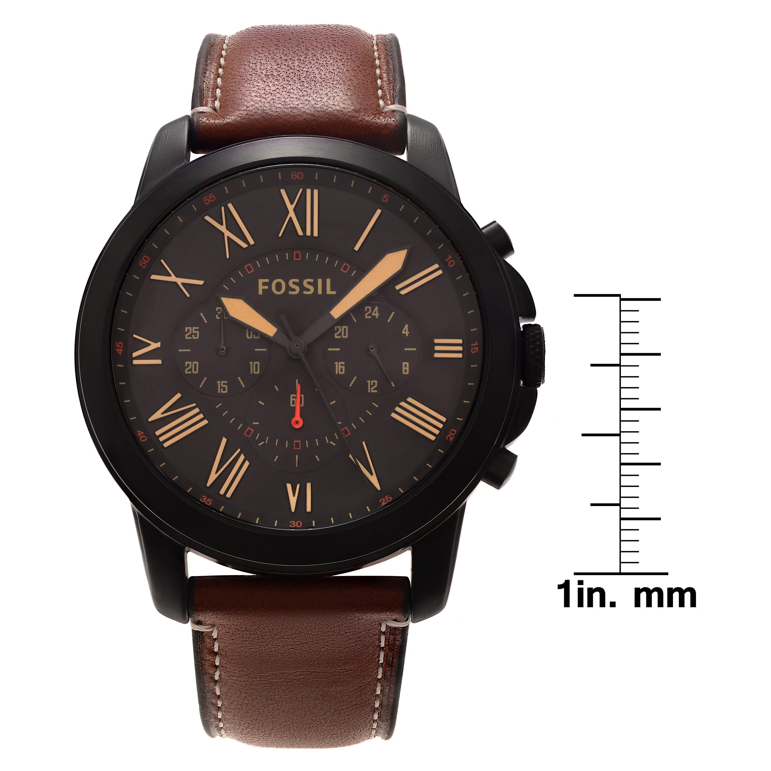 Fossil Men\'s FS5335SET \'Grant\' Black Chronograph Leather Strap Watch ...