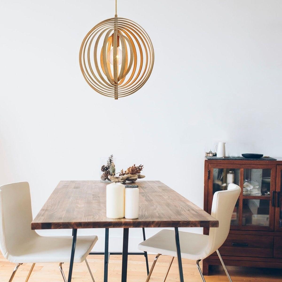 Eurofase Abruzzo Sleek Retractable Wood Large Light Pendant