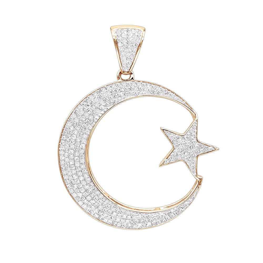 Shop luxurman unique 10k gold star and crescent moon diamond pendant shop luxurman unique 10k gold star and crescent moon diamond pendant 08ct on sale free shipping today overstock 17912917 mozeypictures Images