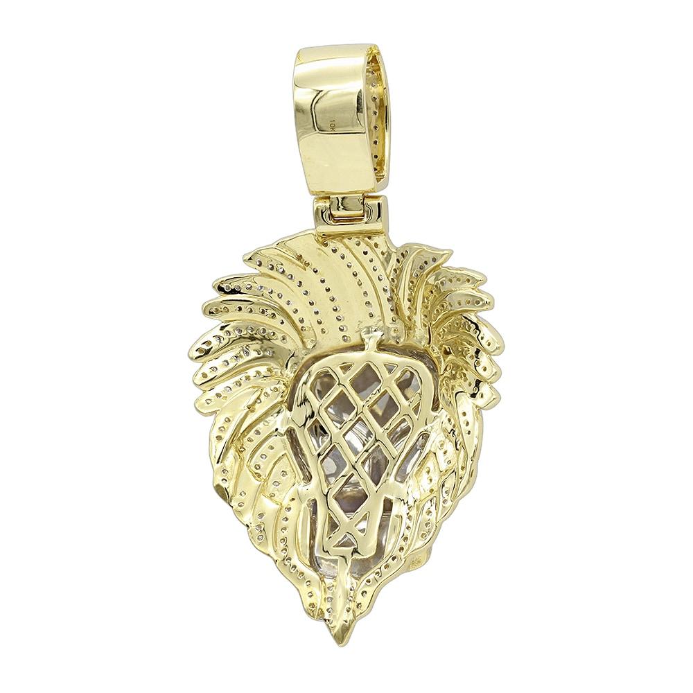 9d0e3f2a7ca51 Luxurman Unique 10K Gold Lion Head Diamond Pendant for Men 0.9ct