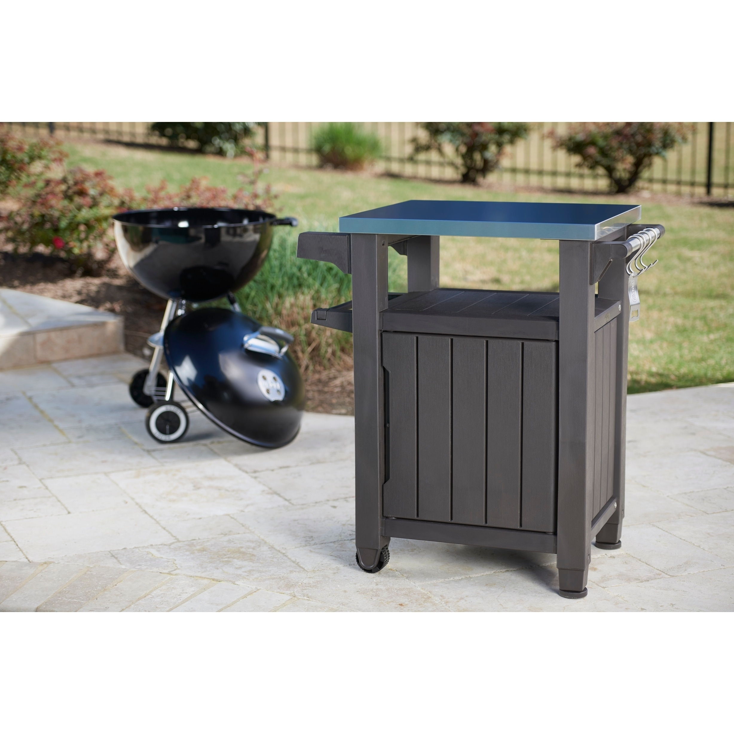 Keter Unity Indoor Outdoor Serving Cart Prep Station With Storage   Free  Shipping Today   Overstock.com   24106639