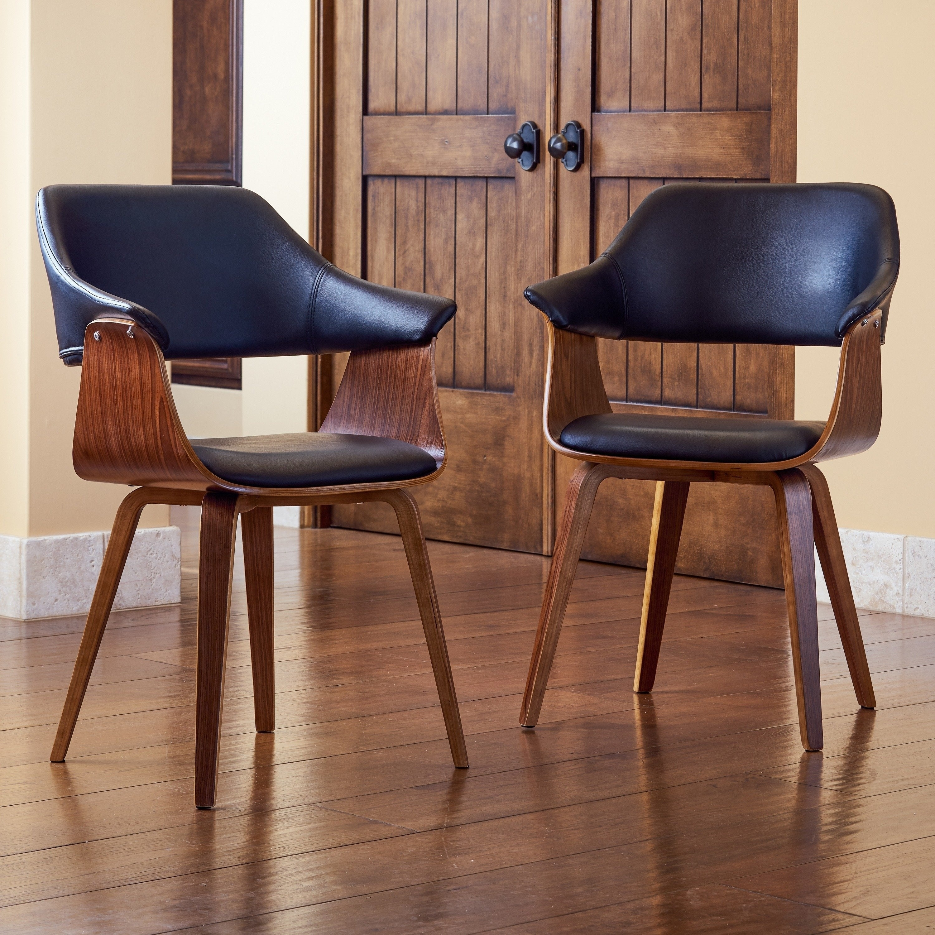 Corvus Norah Mid Century Modern Accent Chairs With Wood Legs Set Of 2