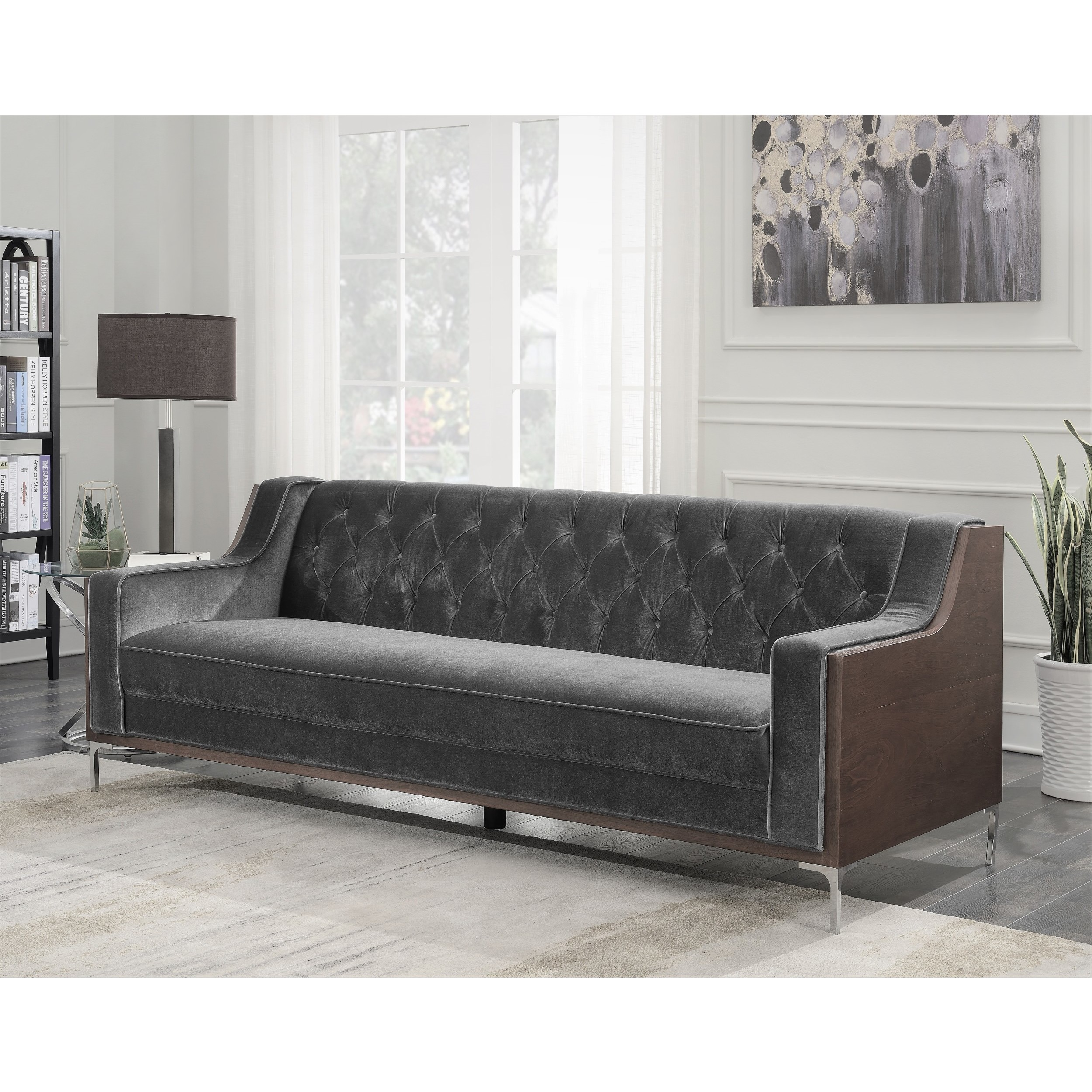 Shop Chic Home Parker Sofa Button Tufted Velvet Walnut Finish Swoop Arm  Wood Frame, Modern Contemporary   On Sale   Free Shipping Today    Overstock.com   ...