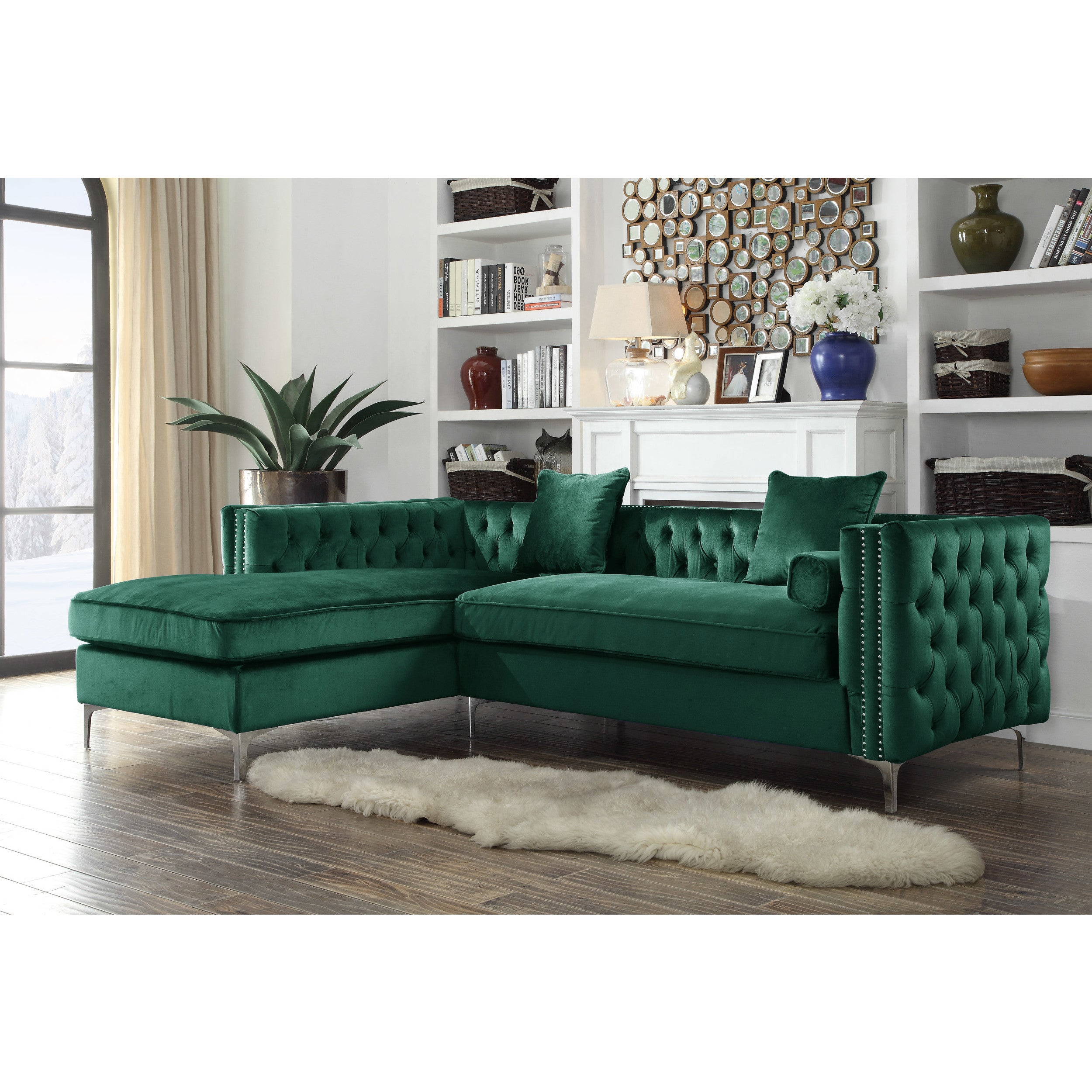 Shop Chic Home Monet Velvet Modern Contemporary Button Tufted With