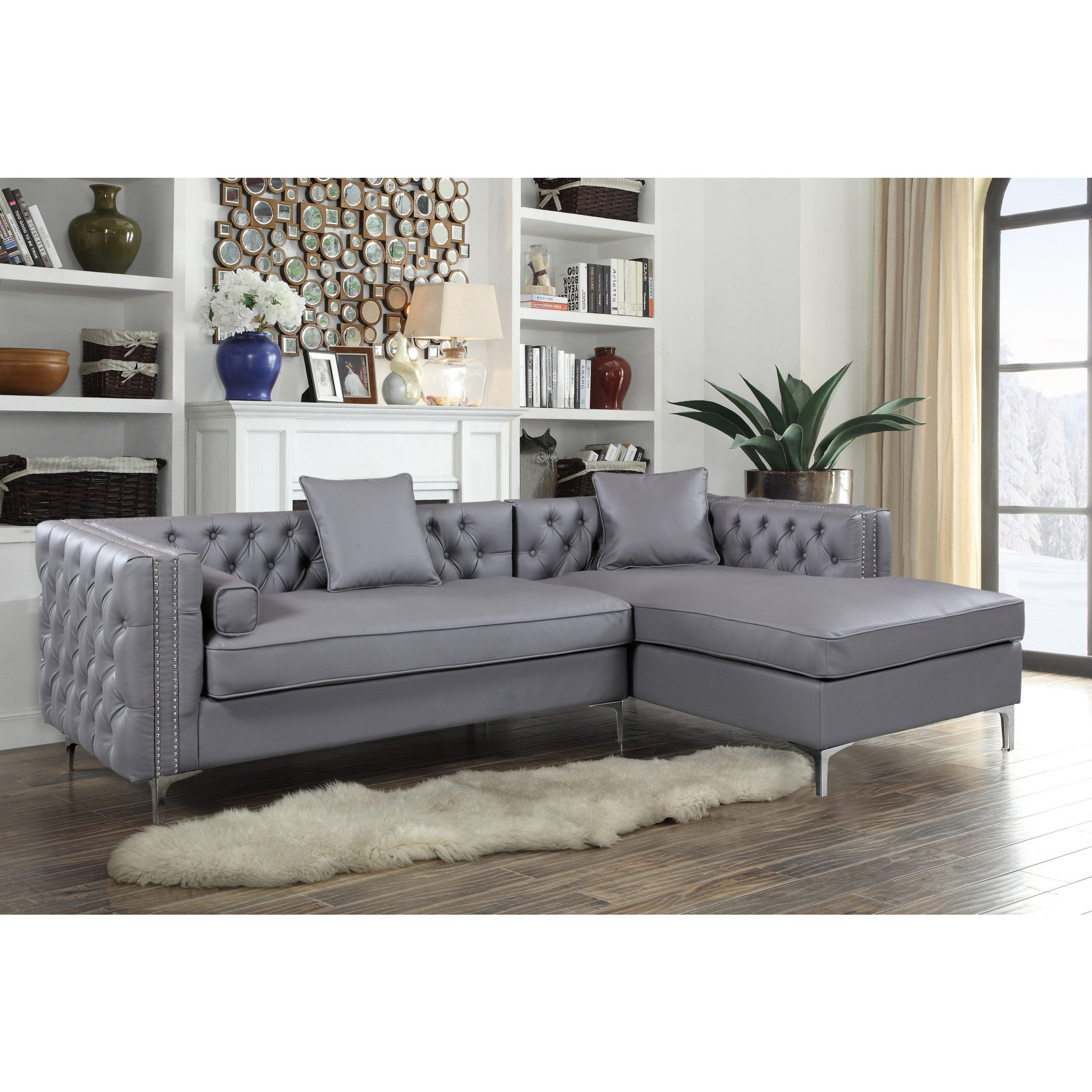 Shop chic home monet pu leather modern contemporary button tufted with silver nailhead trim right facing sectional sofa free shipping today