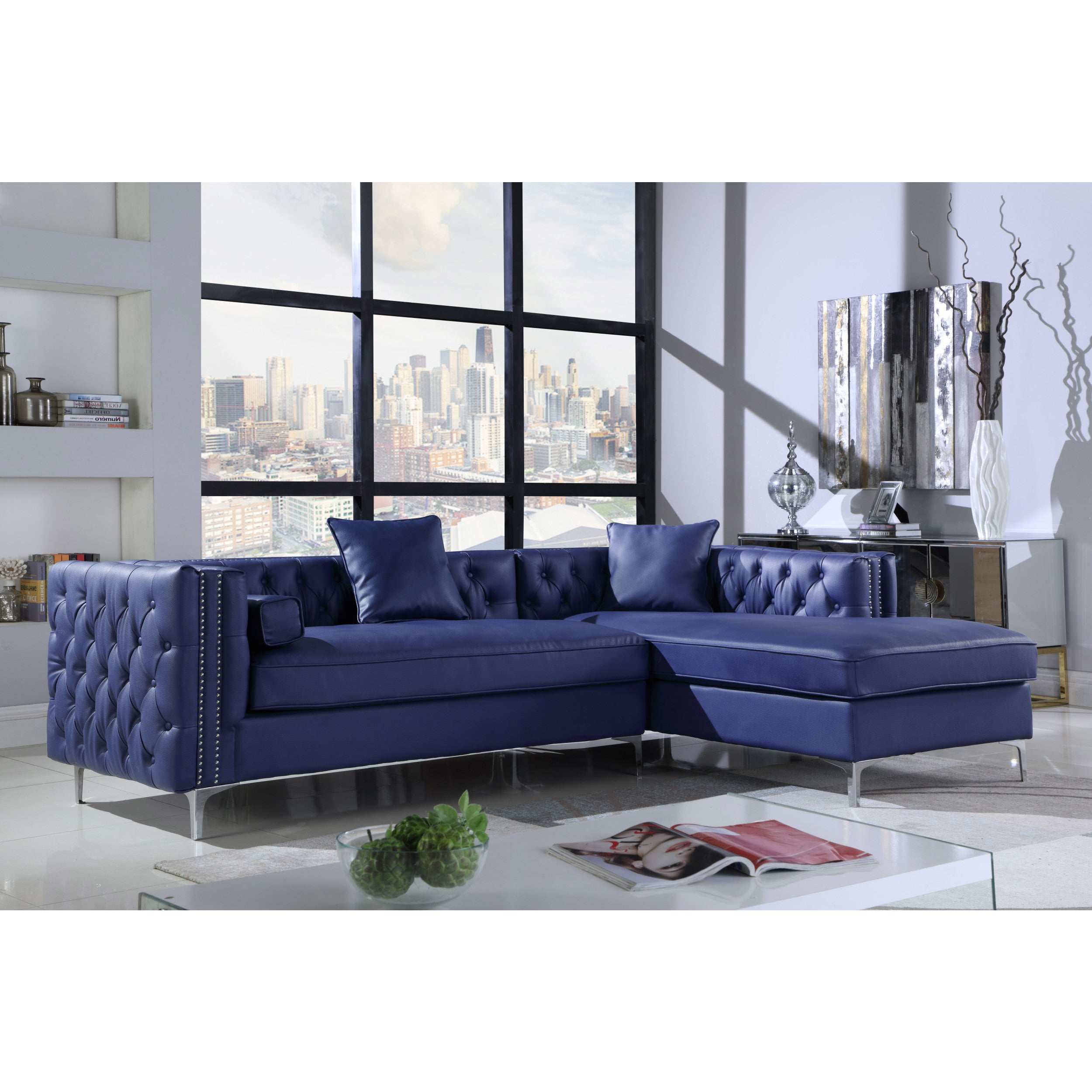 Chic home monet pu leather modern contemporary button tufted with silver nailhead trim right facing sectional sofa