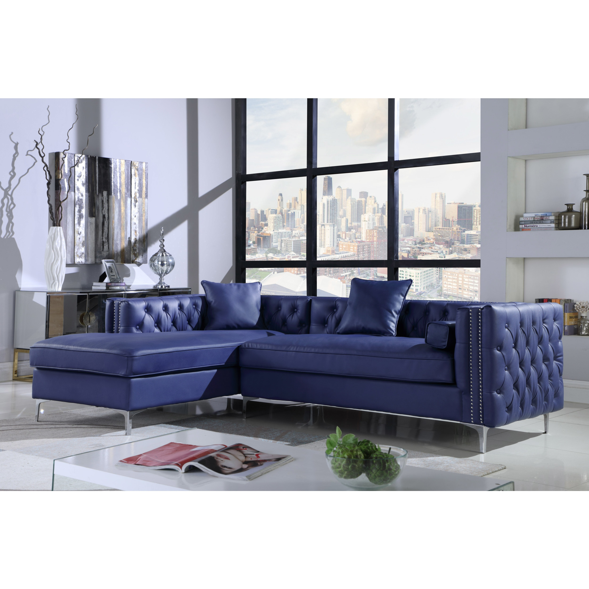 Chic home monet pu leather modern contemporary button tufted with silver nailhead trim left facing sectional sofa
