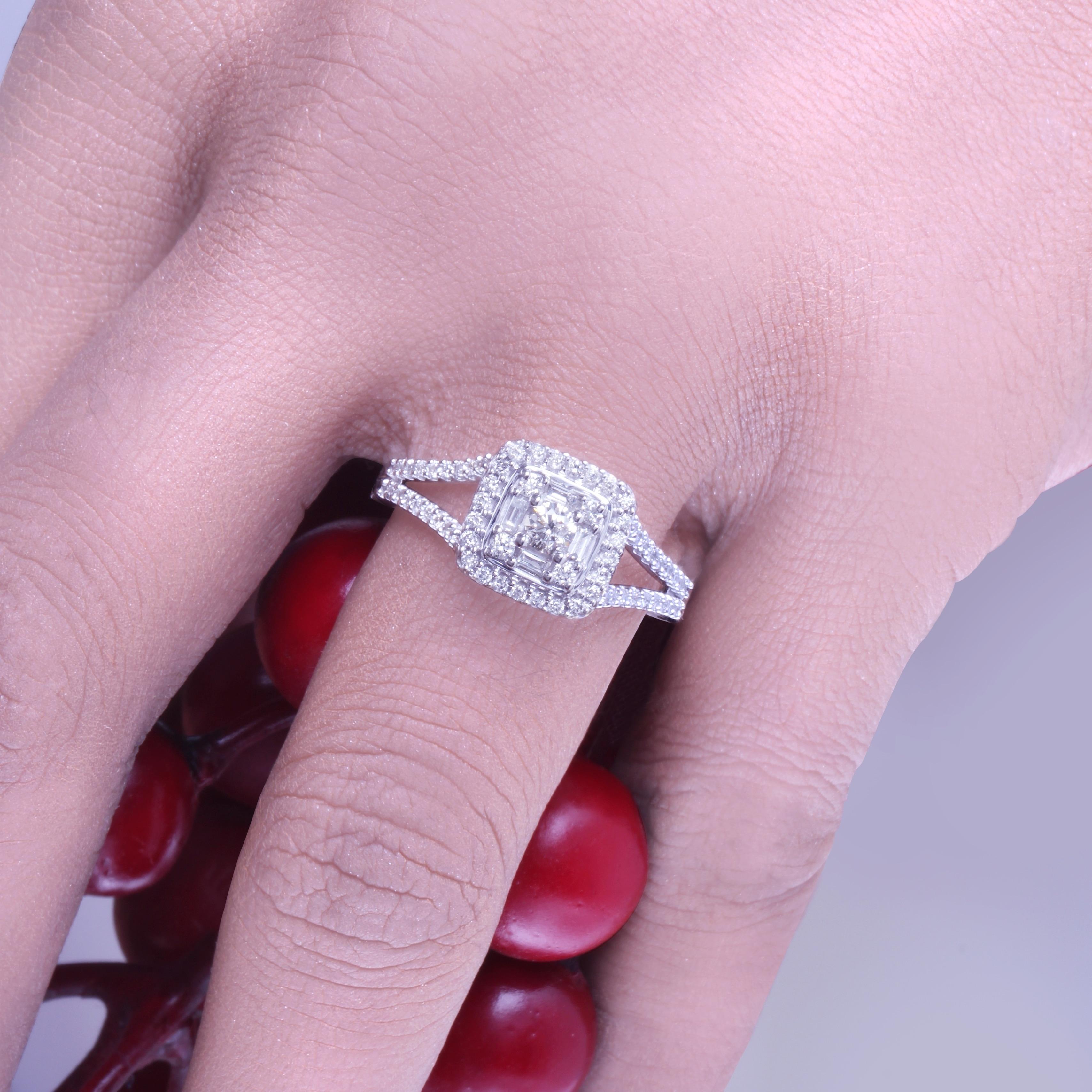 Cali Trove 1/2 Carat Round & Baguette Diamond Composite Bridal Set ...