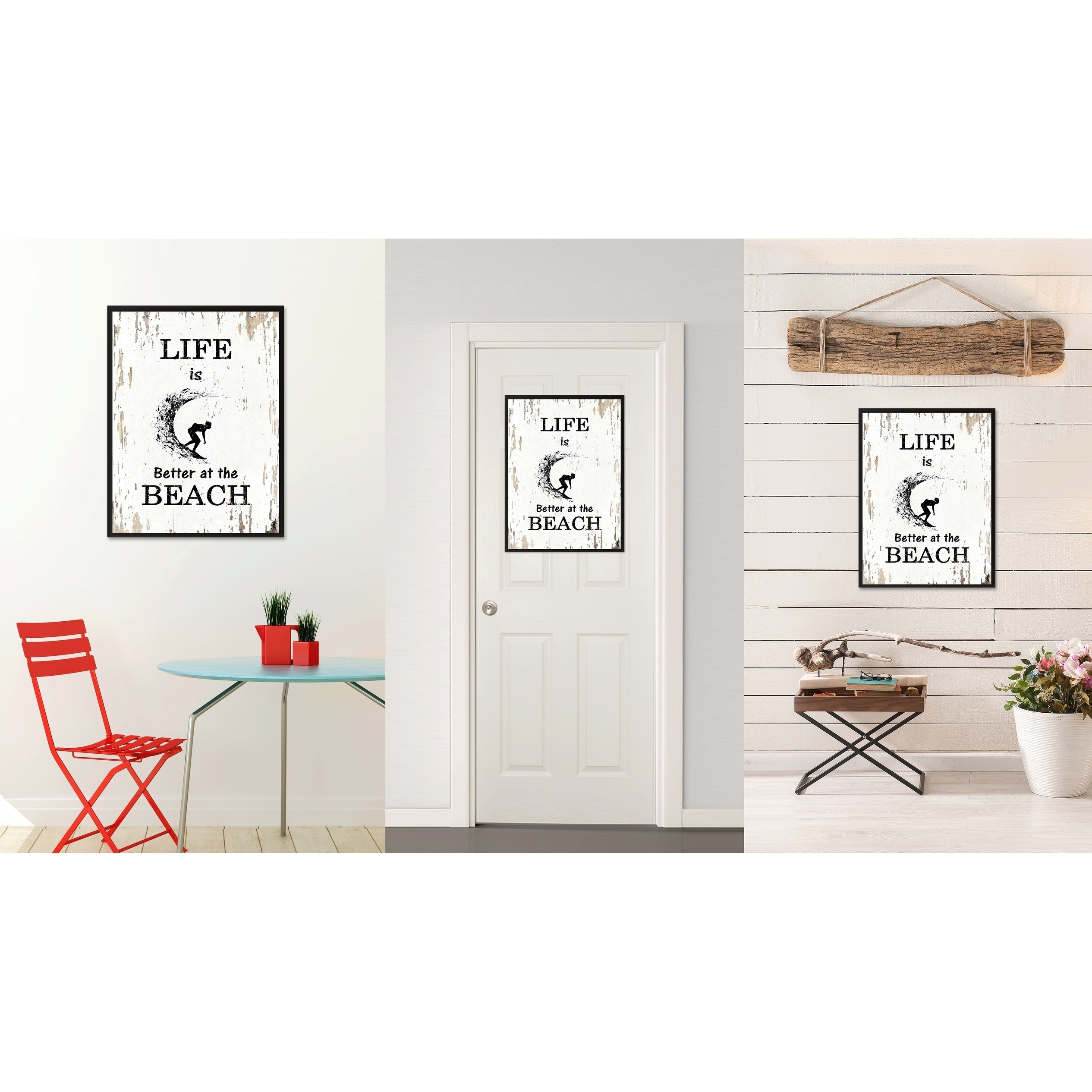 Shop Life Is Better At The Beach Saying Canvas Print Picture Frame ...