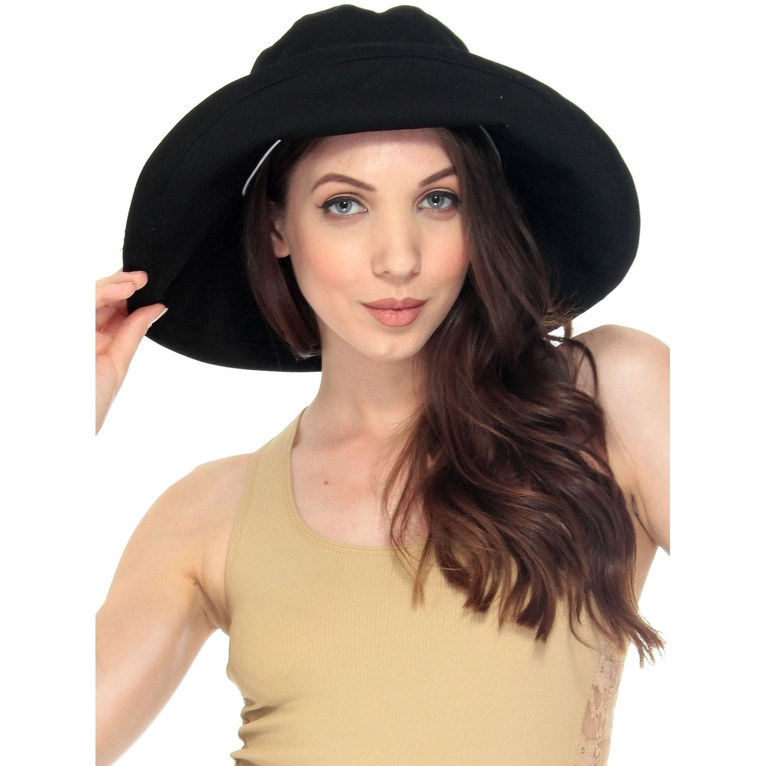 04a1cb99e05 Shop womens foldable cotton wide brim bucket hat with sun protection on  sale free shipping on