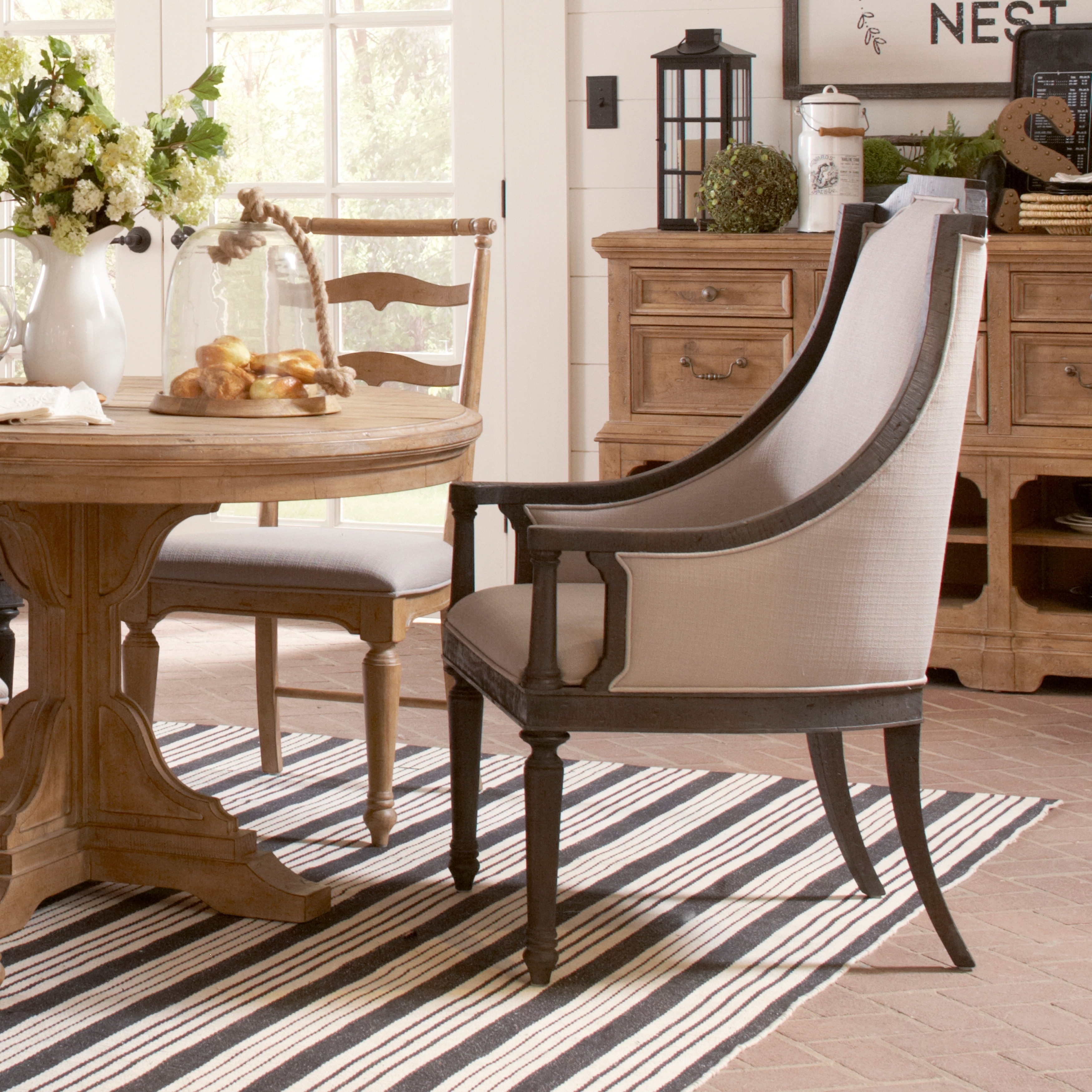 Shop Magnussen Home Furnishings Bedford Corners Anvil Black Pine  Upholstered Host Chair   Free Shipping Today   Overstock.com   17930919
