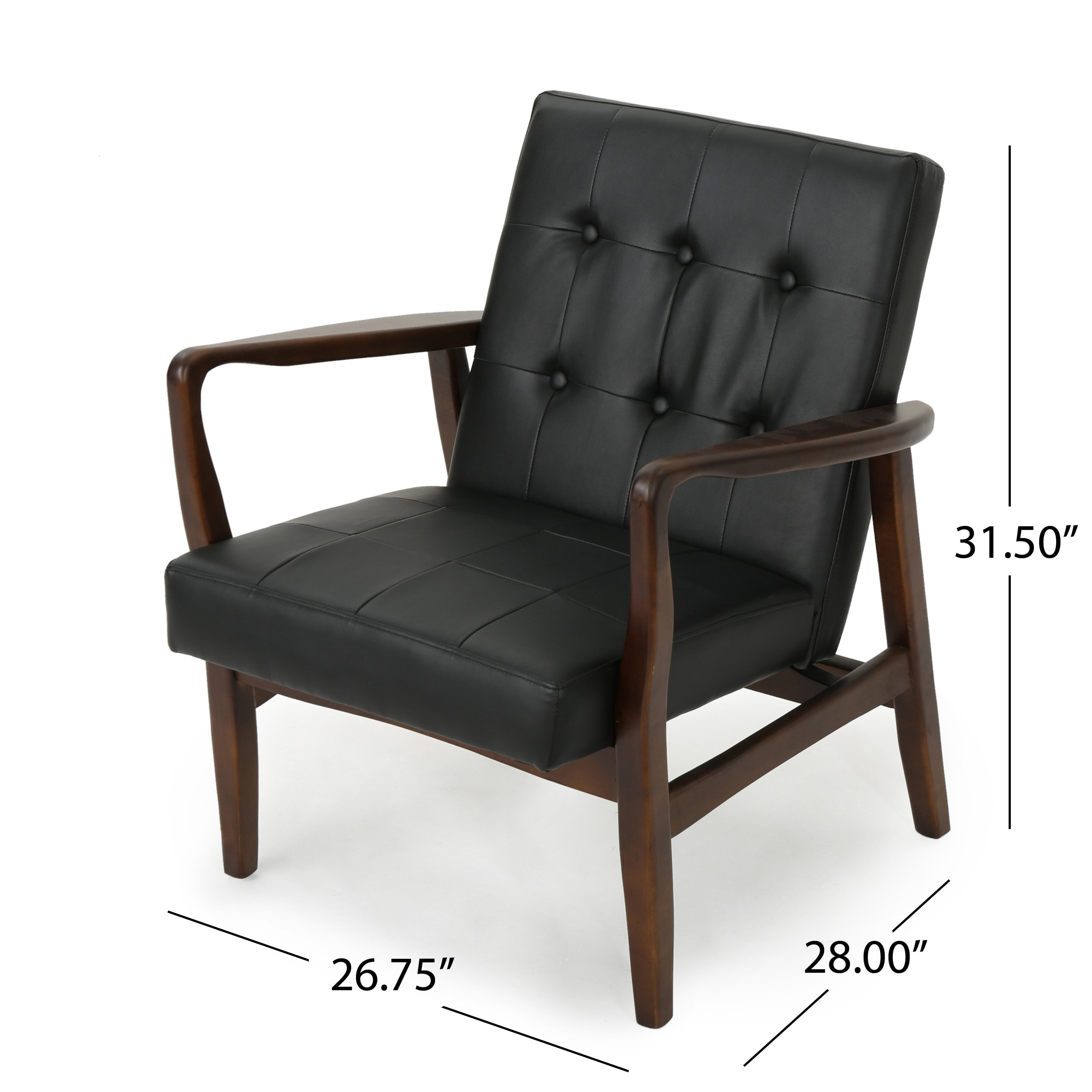 Shop Callahan Mid Century Modern Faux Leather Club Chair By Christopher  Knight Home   On Sale   Free Shipping Today   Overstock.com   17945223
