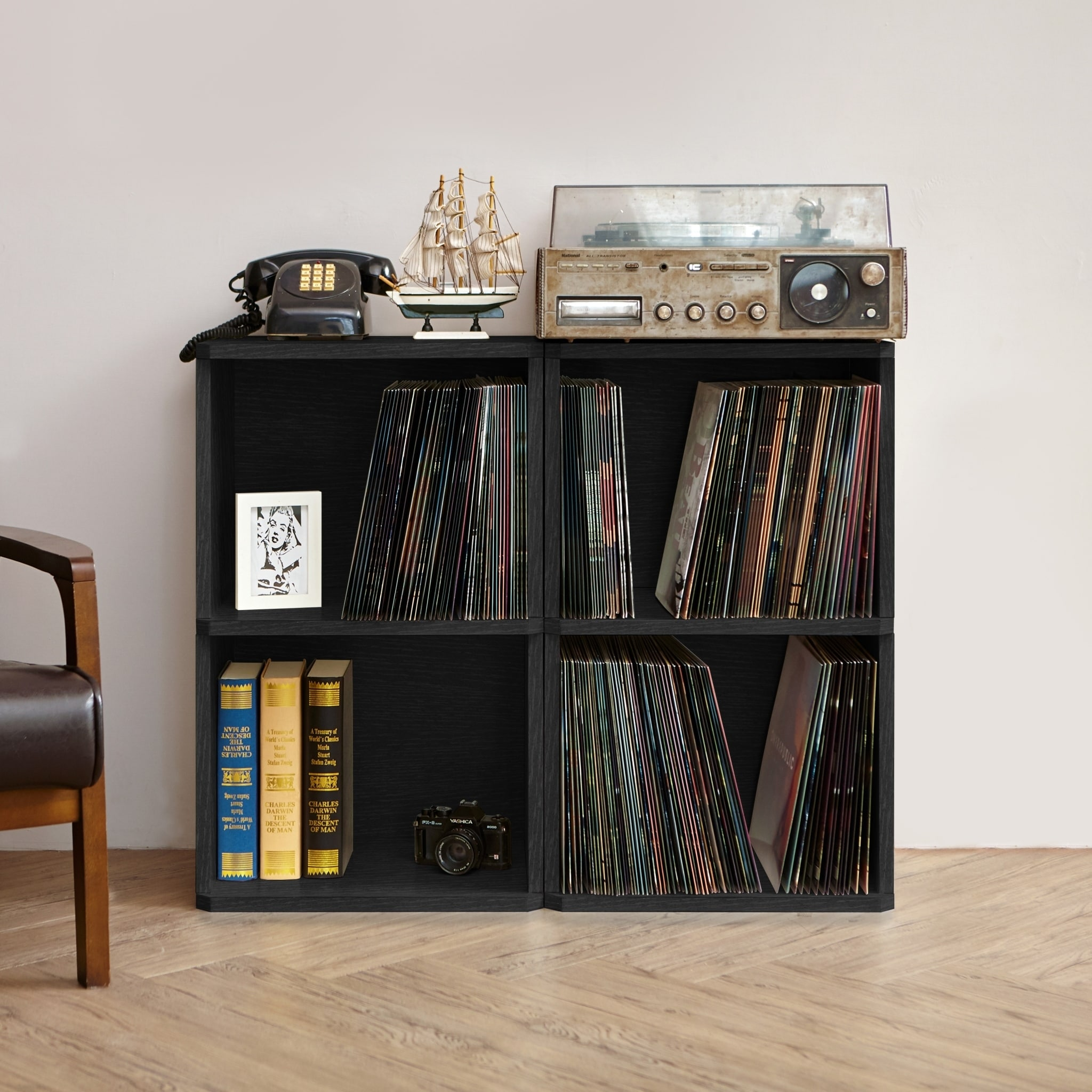 Music Latest Collection Of Eco 2-shelf Vinyl Lp Record Album Storage Cube Black Lifetime Guarantee