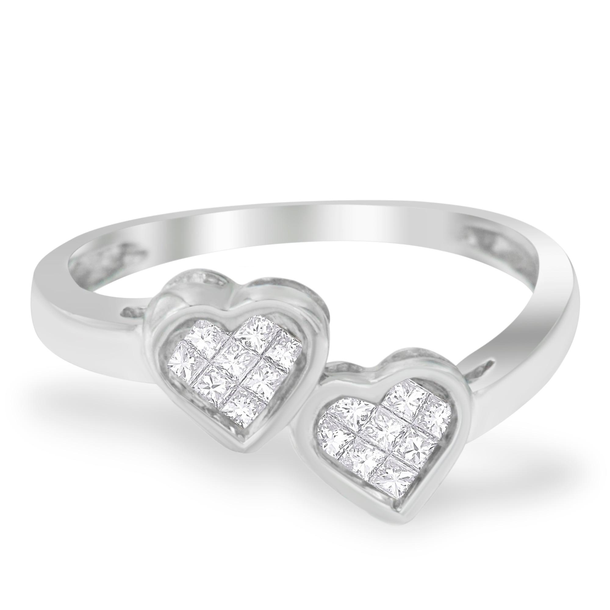 1a07292afef7da 10k White Gold 1/4ct. TDW Princess Cut Diamond Heart Promise Ring  (H-I,SI2-I1)