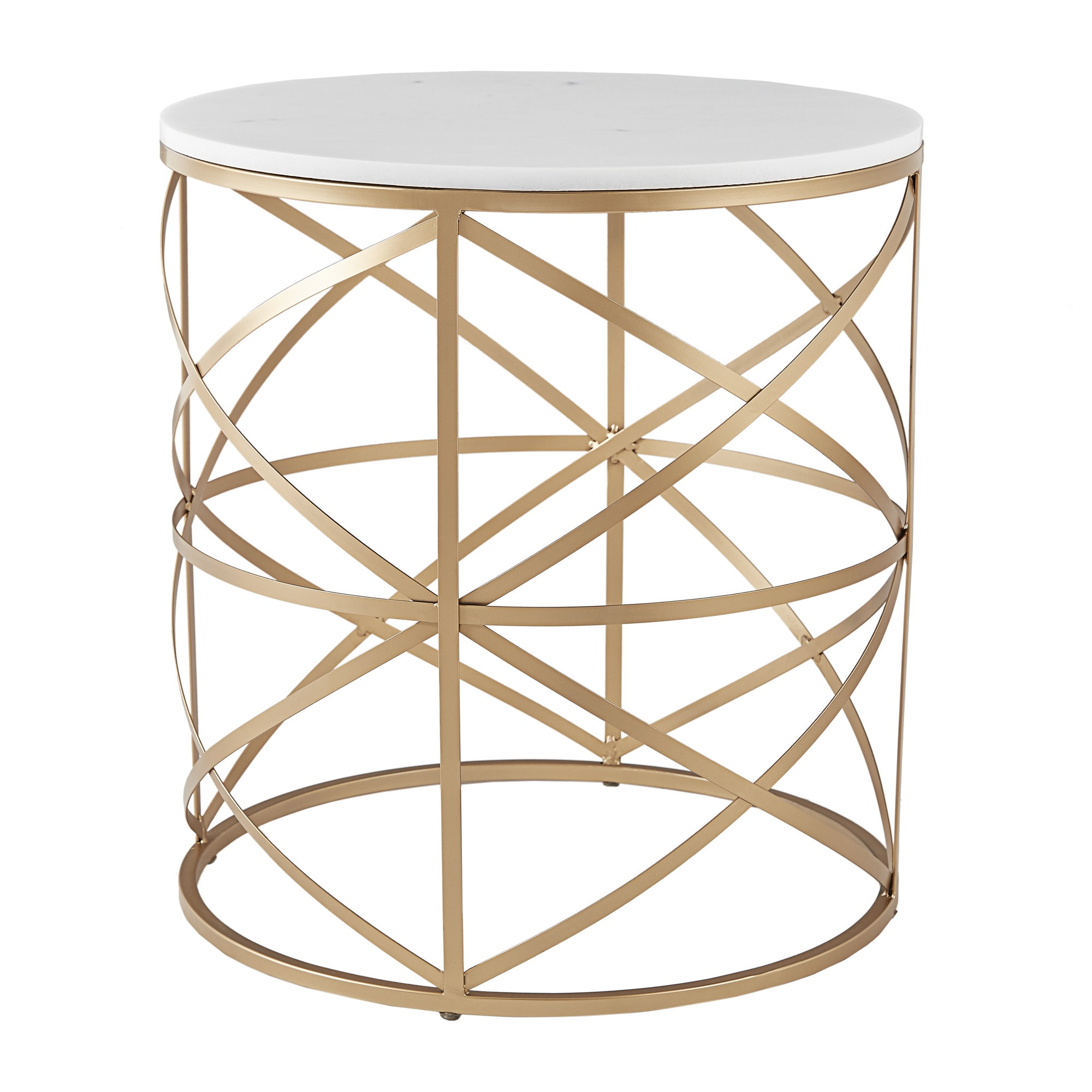Paisley Round Gold End Table With Marble Top By Inspire Q Bold Free Shipping Today 17954315