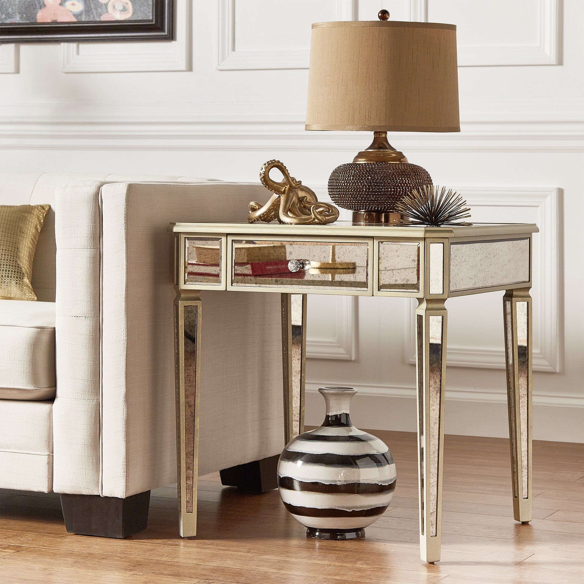Clara Antique Gold 1-drawer Mirrored End Table by iNSPIRE Q Bold - Free  Shipping