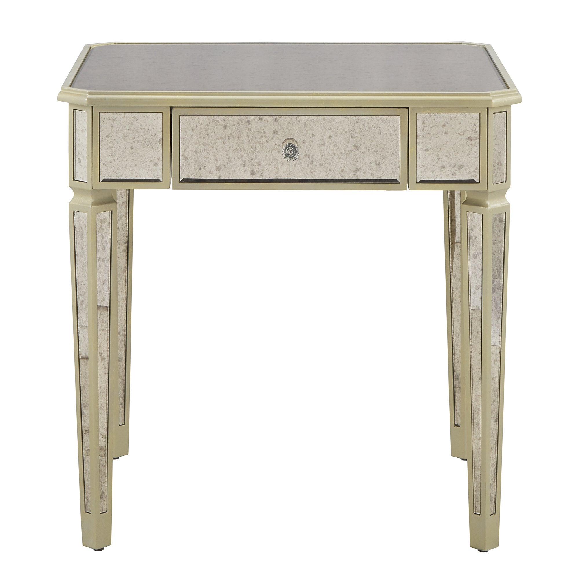Chunwan Pw Oval Mirrored End Table With Drawer Design