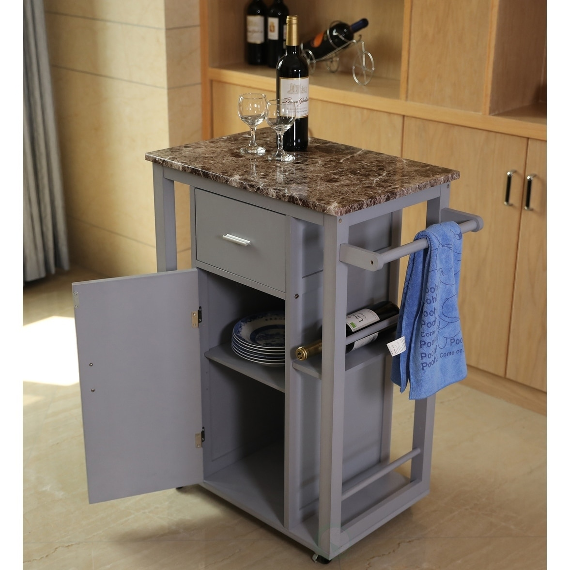 Wooden Kitchen Island on Wheels, Heavy Duty Rolling Casters - Free Shipping  Today - Overstock.com - 24132002