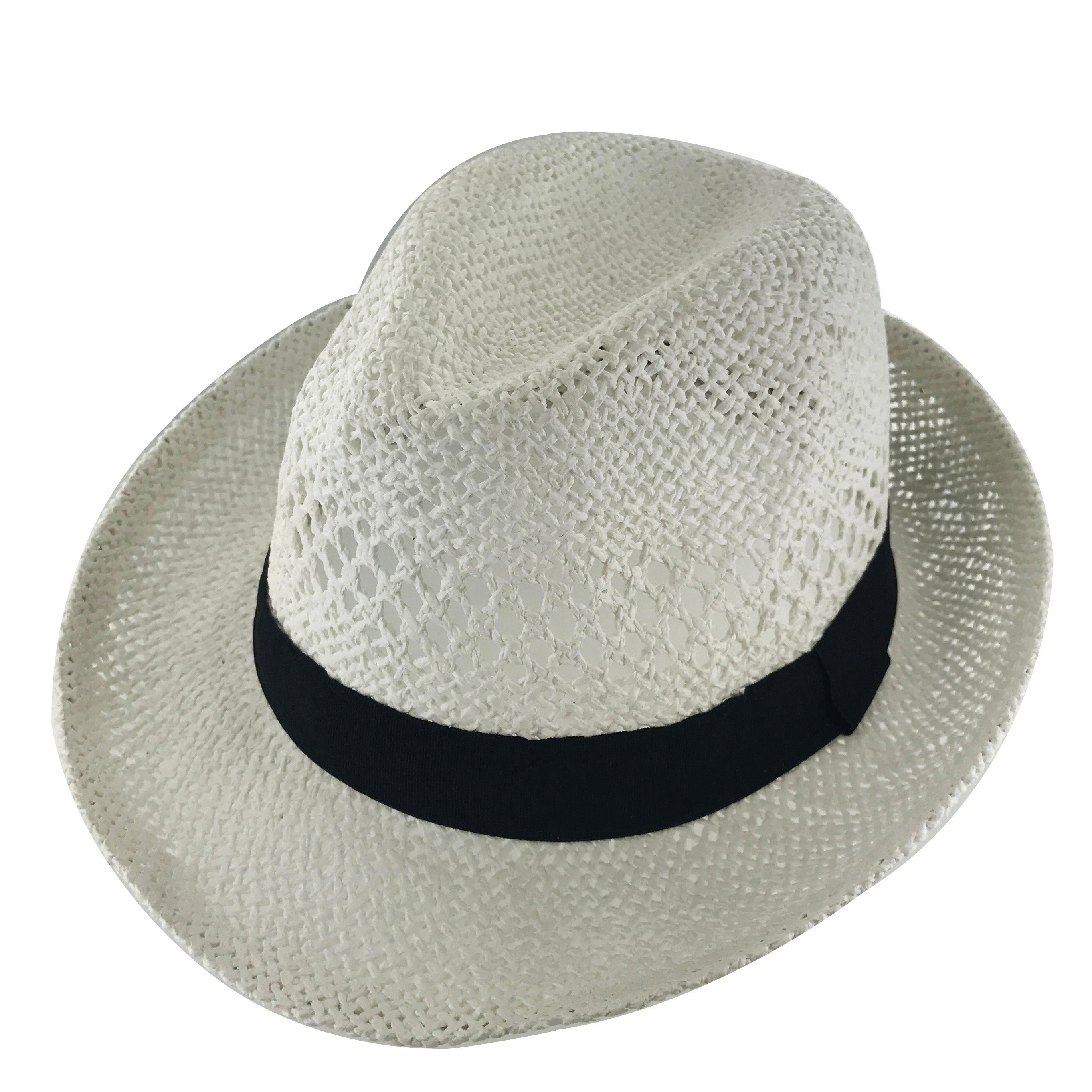 aa3414ada94 Shop Faddism Unisex Vented Ribbon Cuban Brim Fedora Straw Hat Model 215 -  Free Shipping On Orders Over  45 - Overstock - 17955548