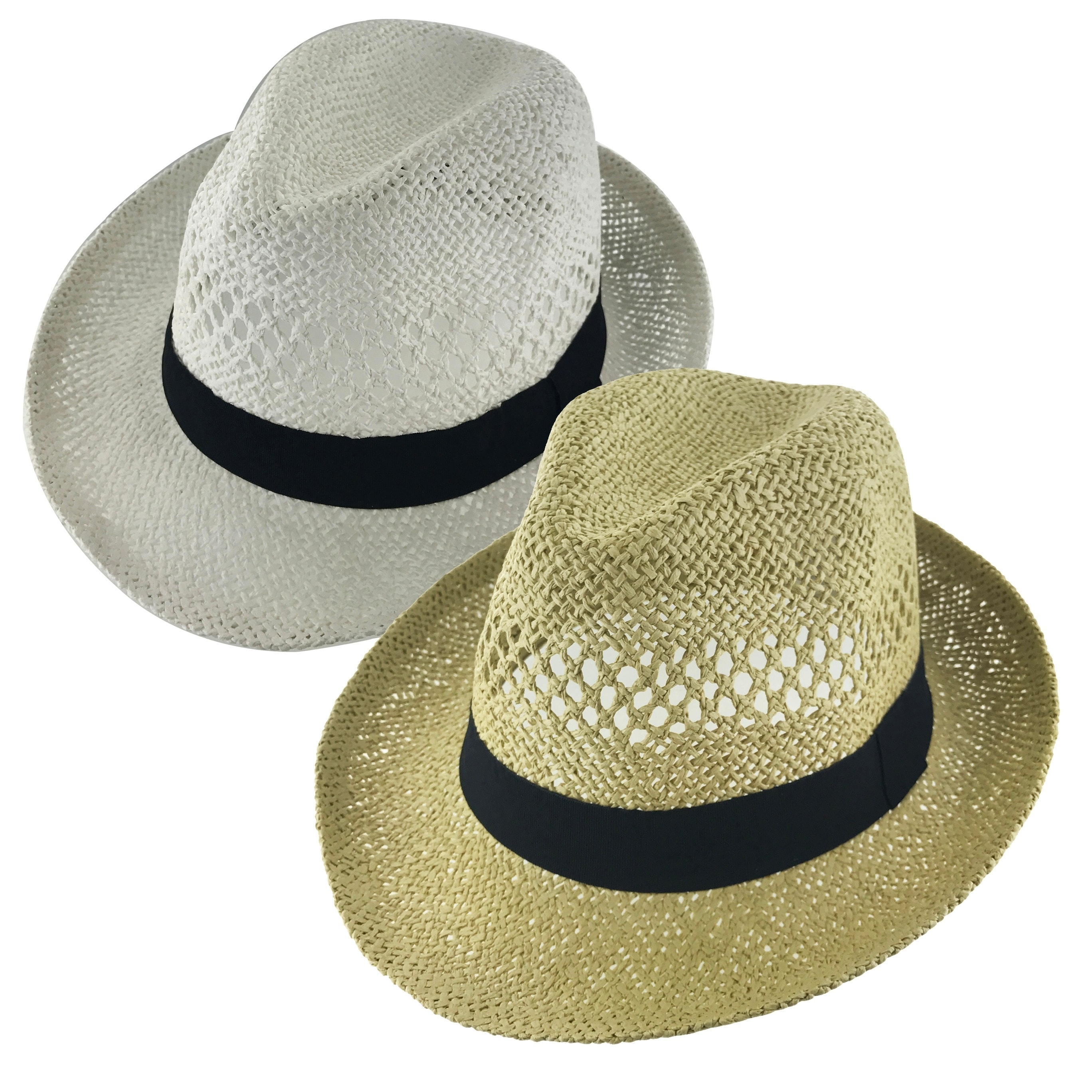 3b069214dc Faddism Unisex Vented Ribbon Cuban Brim Fedora Straw Hat Model 215
