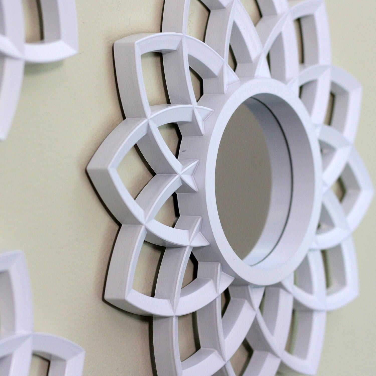 Set Of 3 Fl Arches Matte White Decorative Round Mirrors 9 5 Free Shipping On Orders Over 45 17958085