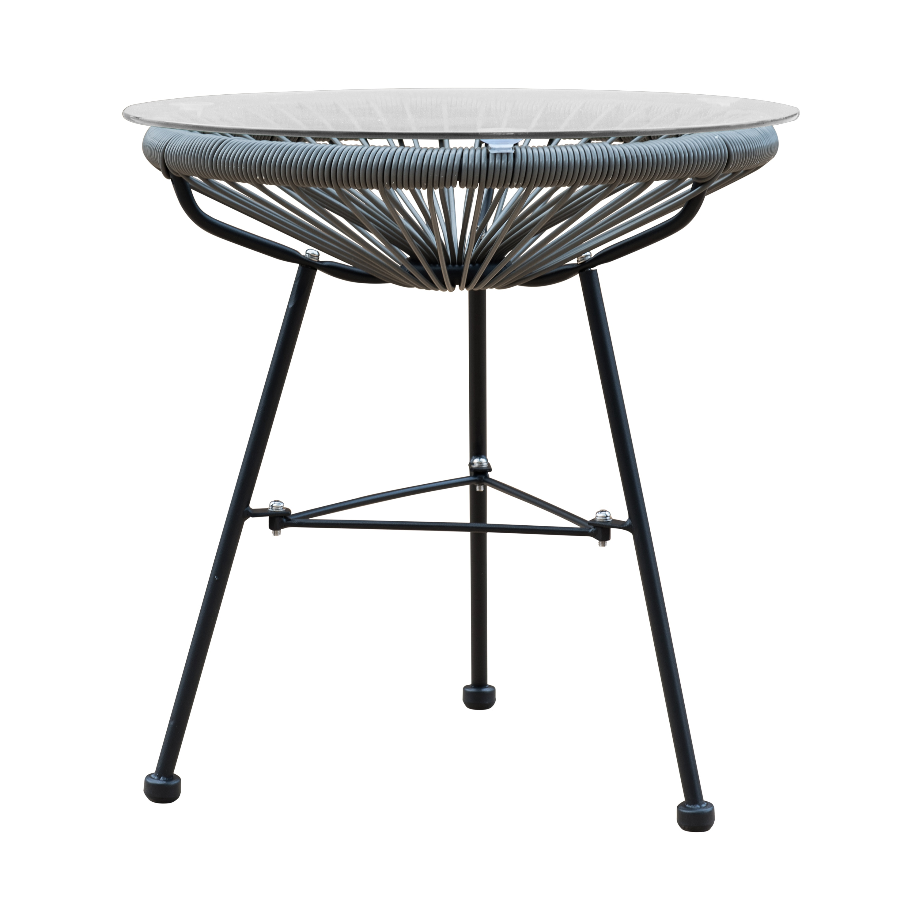 Sarcelles Modern Woven Wicker Patio Side Table With Gl Top By Corvus On Free Shipping Today 17958315