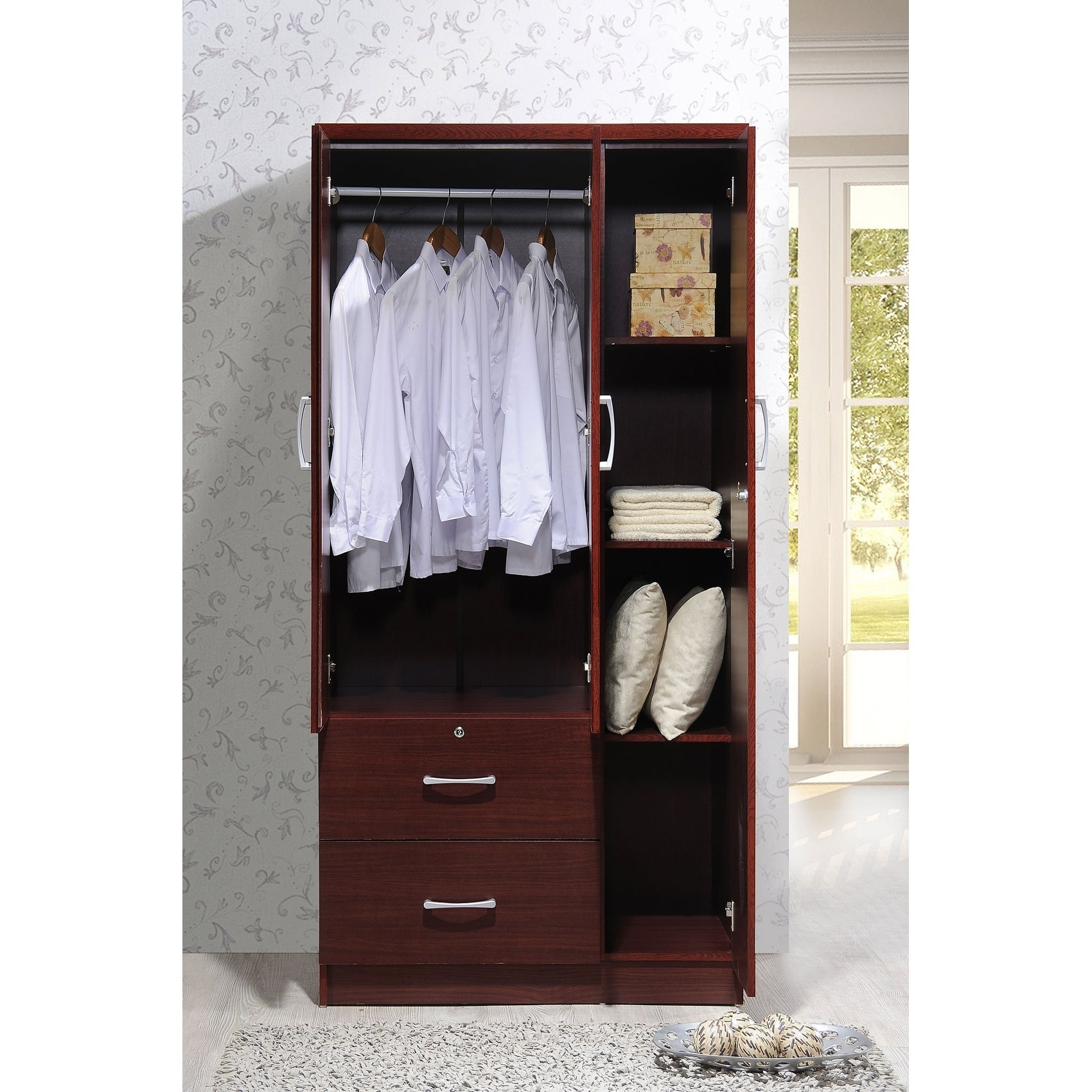 Wide Armoire With 2 Drawers, Clothing Rod And 3 Shelves   Free Shipping  Today   Overstock.com   17961058