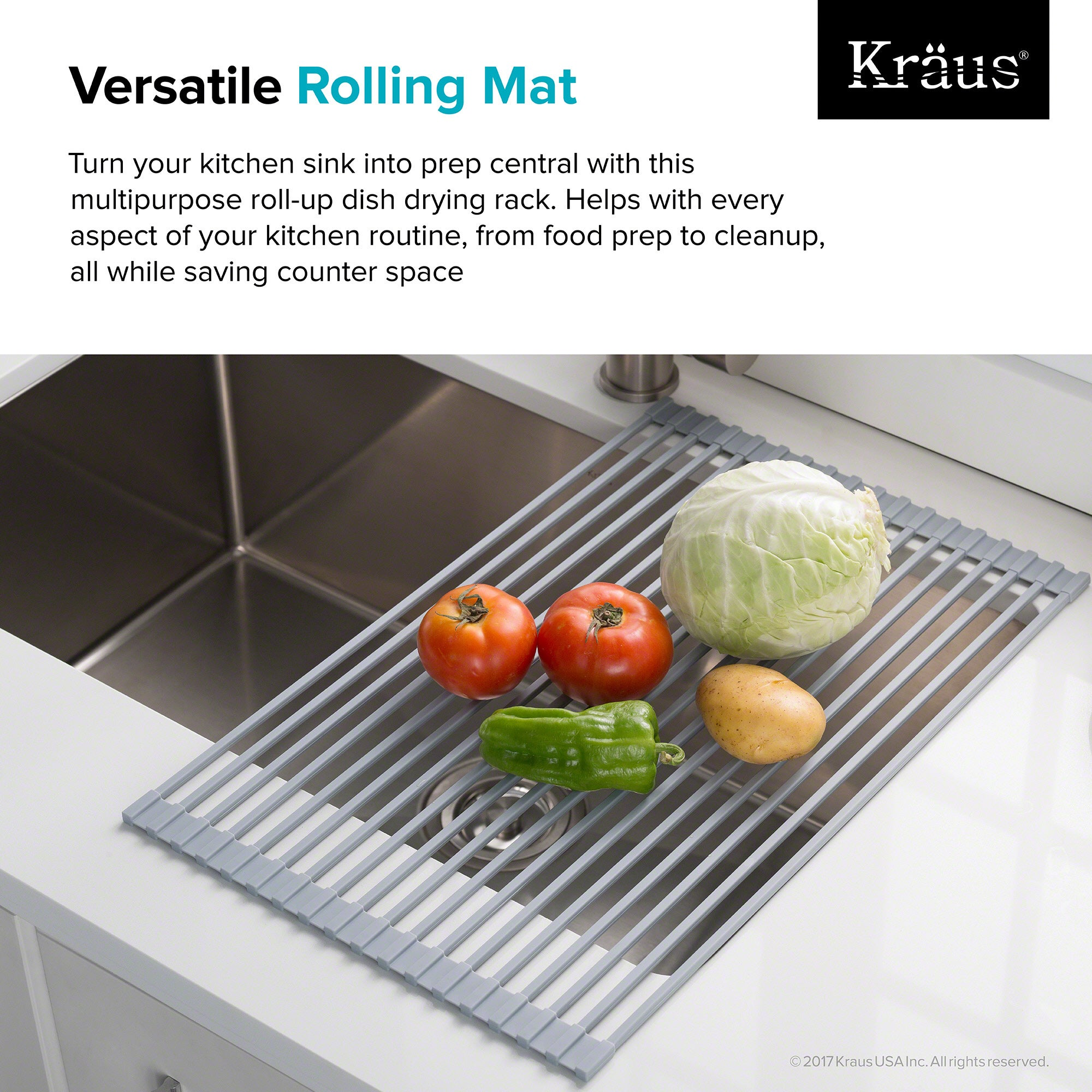 KRAUS Multipurpose Over Sink Roll-Up Dish Drying Rack - Free ...