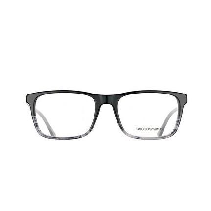 d84fe3b7649 Shop Emporio Armani Men s EA3120 5566 55 Black Tr Striped Grey Rectangle  Plastic Eyeglasses - Free Shipping Today - Overstock - 17961922