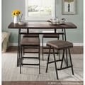 Geo Industrial Metal and Wood Counter Table - Brown