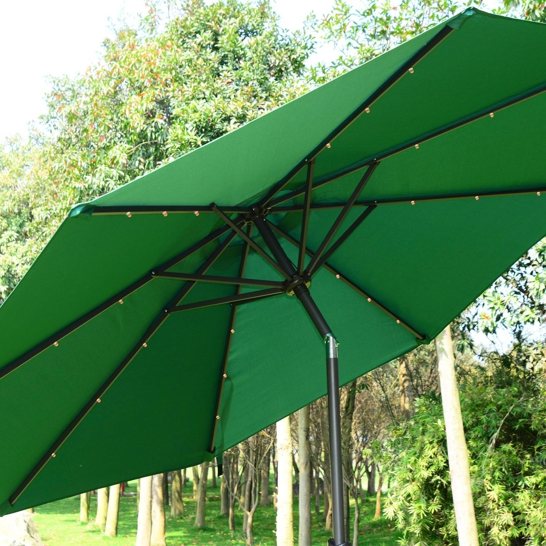 Outsunny 9\' Solar Multi-Color LED Market Patio Umbrella - Free ...