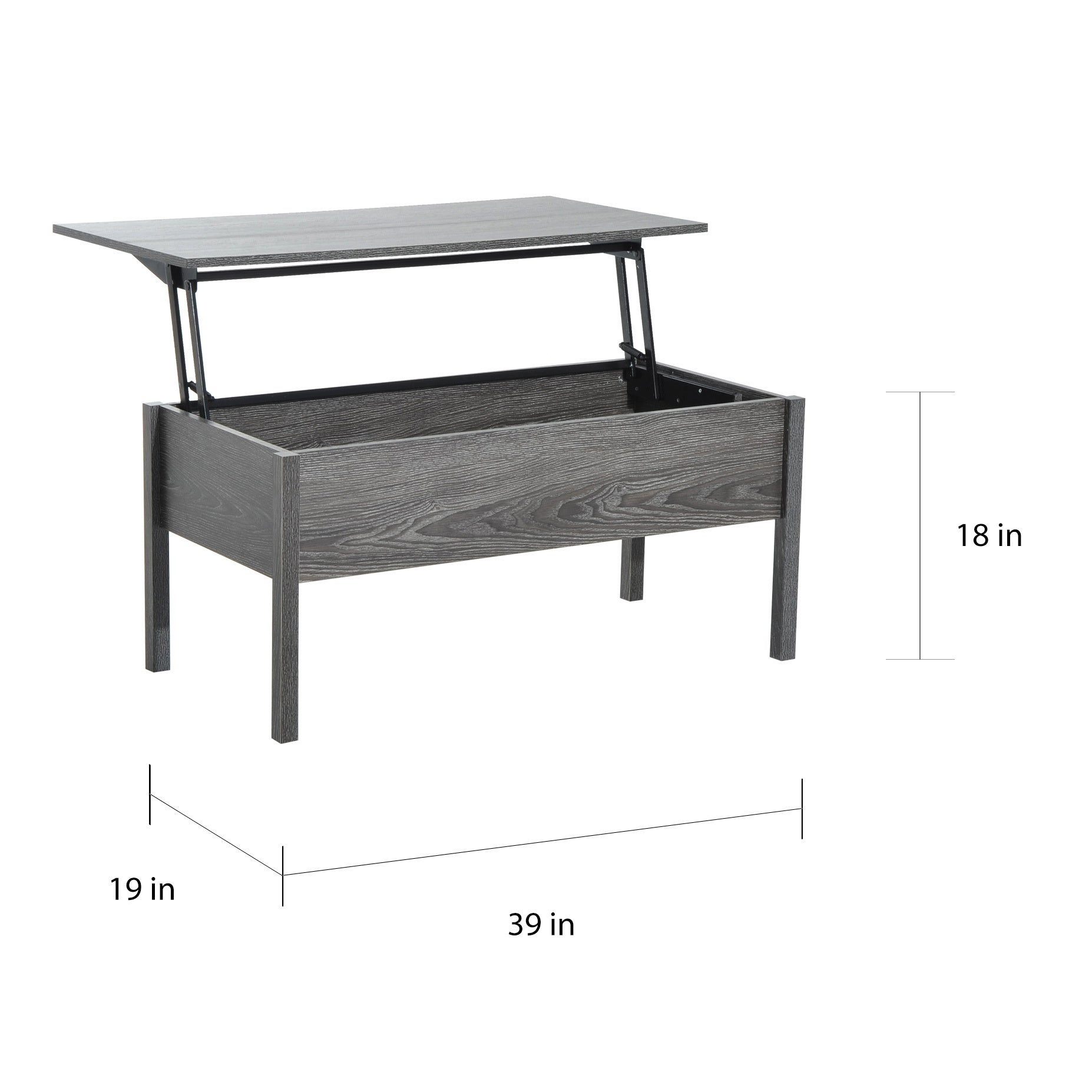 3ca7ebe2b6645 Shop HomCom Lift Top Coffee Storage Table - Grey - On Sale - Free Shipping  Today - Overstock - 17966889