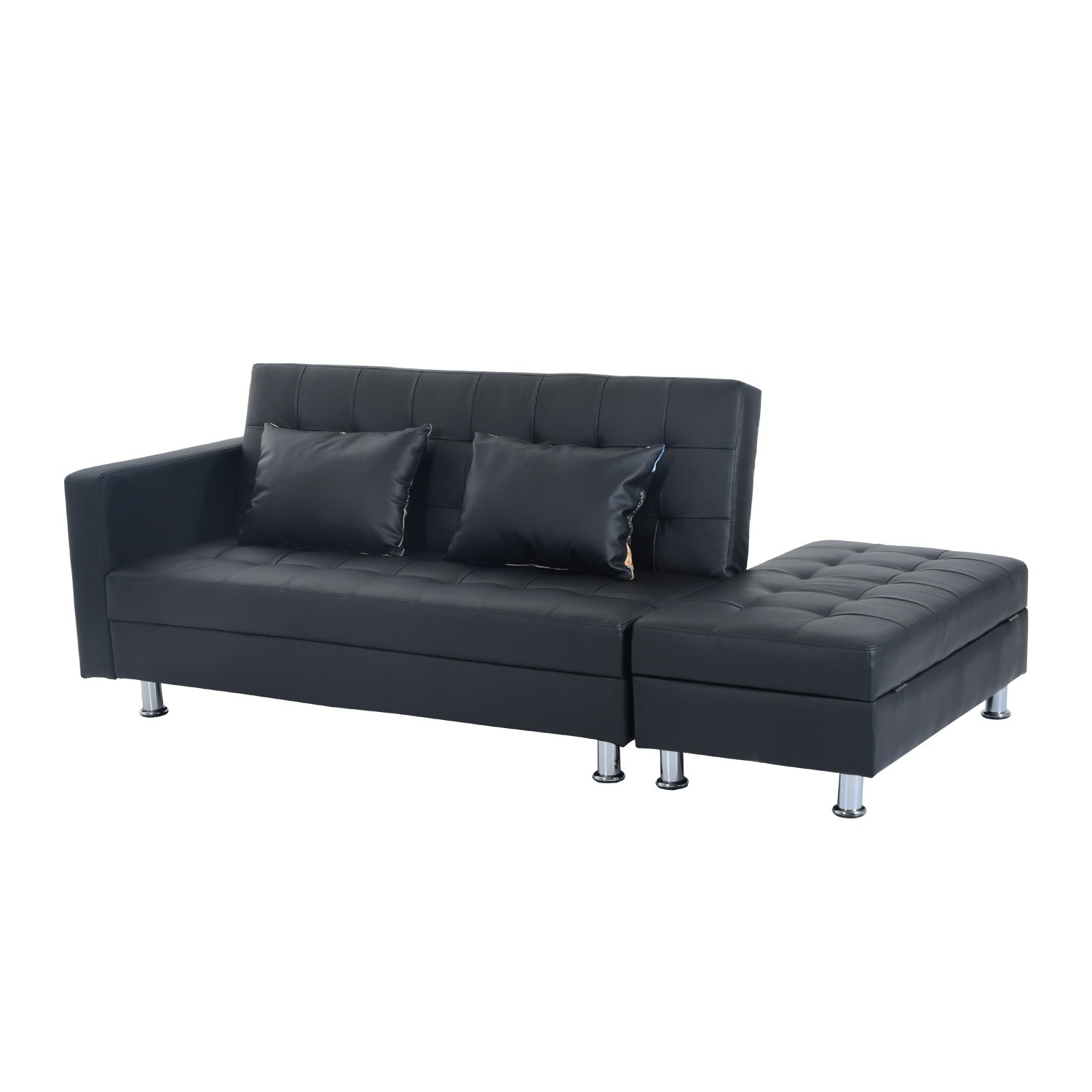 HomCom Faux Leather Convertible Sofa Sleeper Bed W/Storage Ottoman   Free  Shipping Today   Overstock   24142998