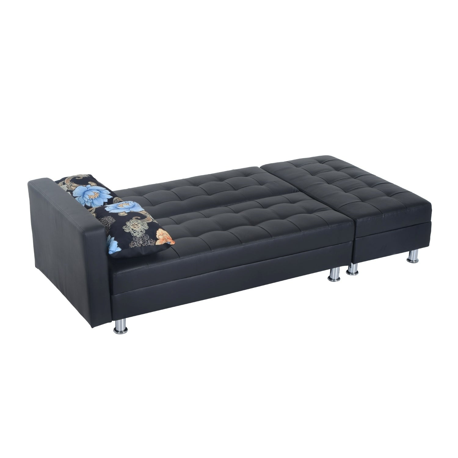 Shop Homcom Faux Leather Convertible Sofa Sleeper Bed W Storage