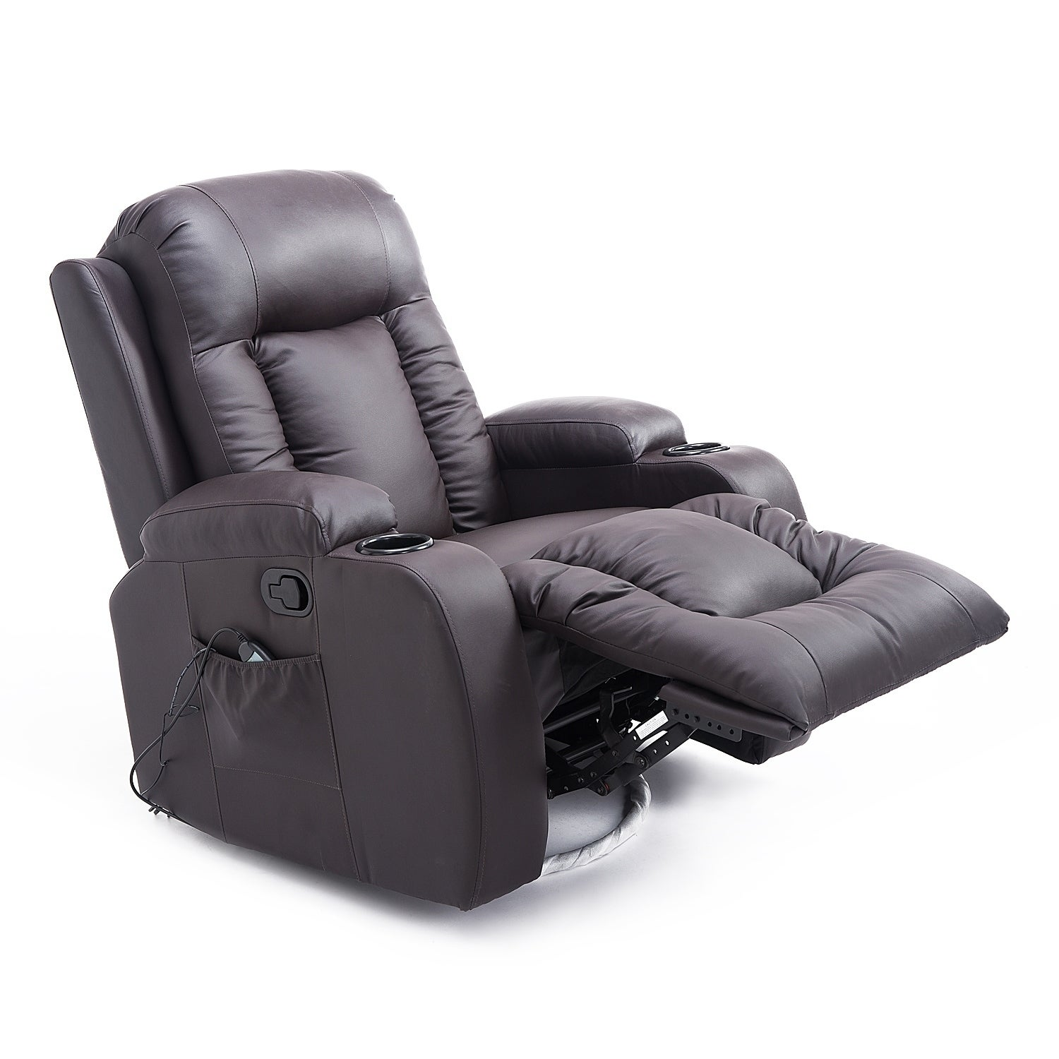 shop homcom pu leather heated vibrating massage recliner chair with