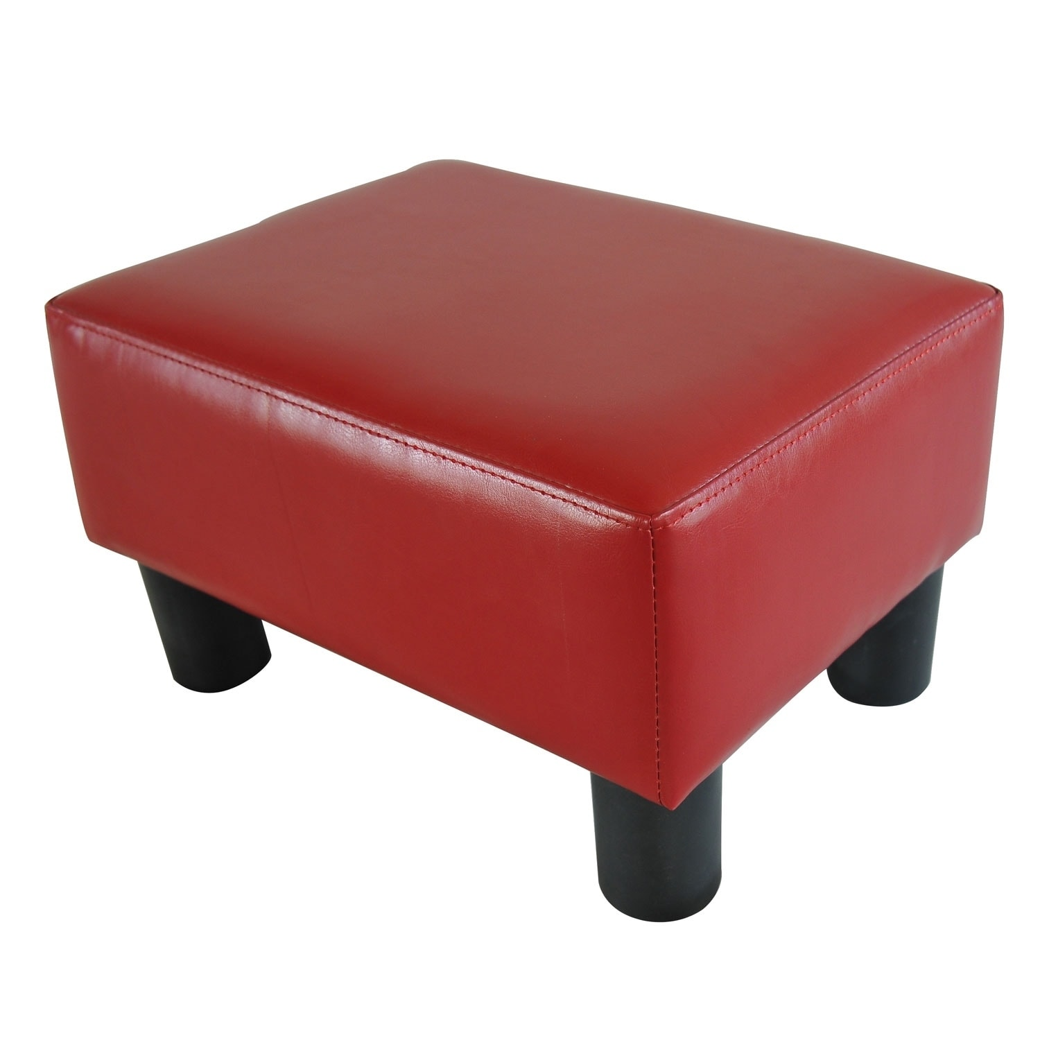 Shop porch den meadow modern small red faux leather ottoman footrest stool free shipping on orders over 45 overstock com 22580959