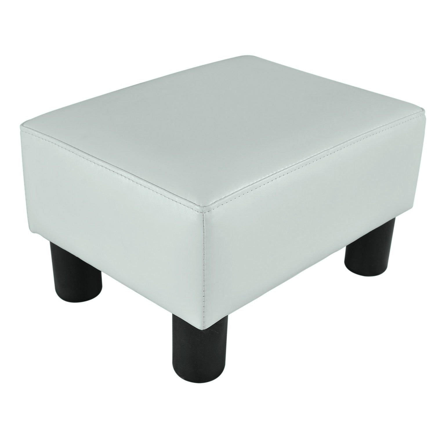 Shop porch den meadow modern small white faux leather ottoman footrest stool free shipping on orders over 45 overstock com 22580929