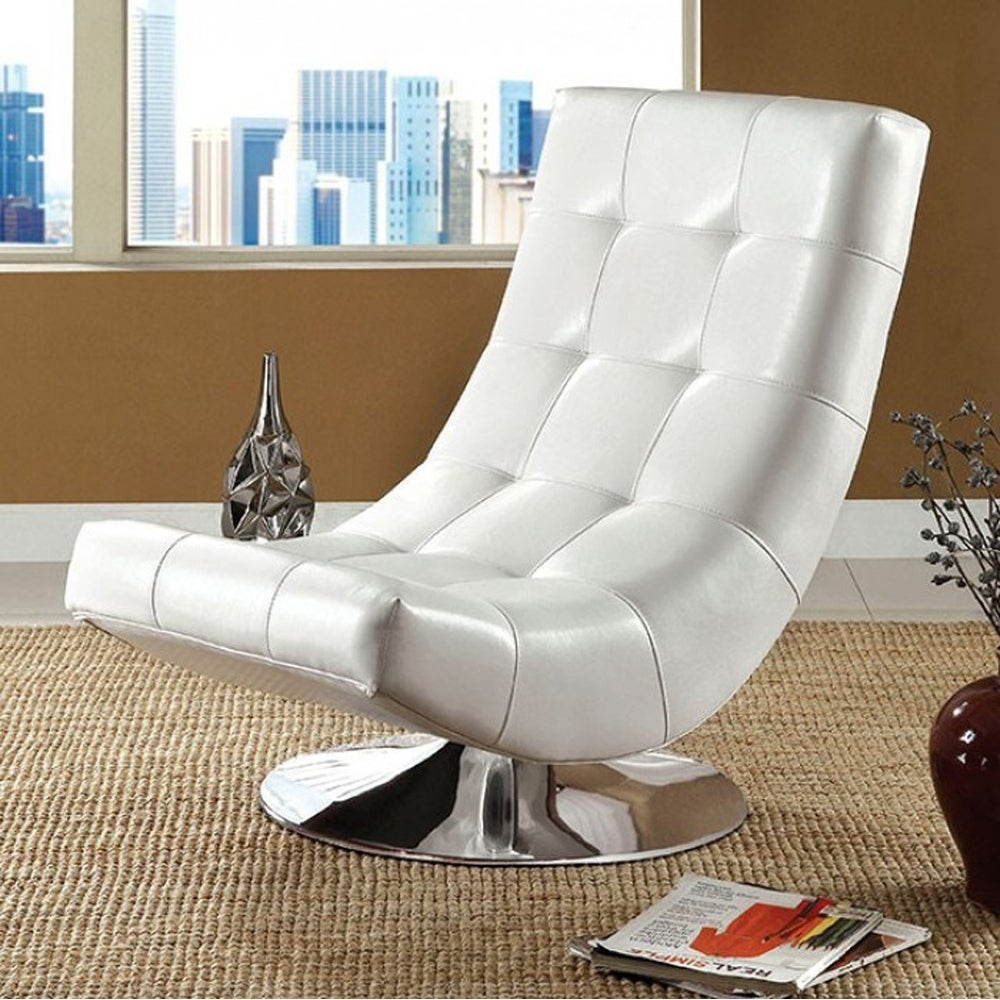 Shop trinidad contemporary swivel chair white free shipping today overstock com 17970736
