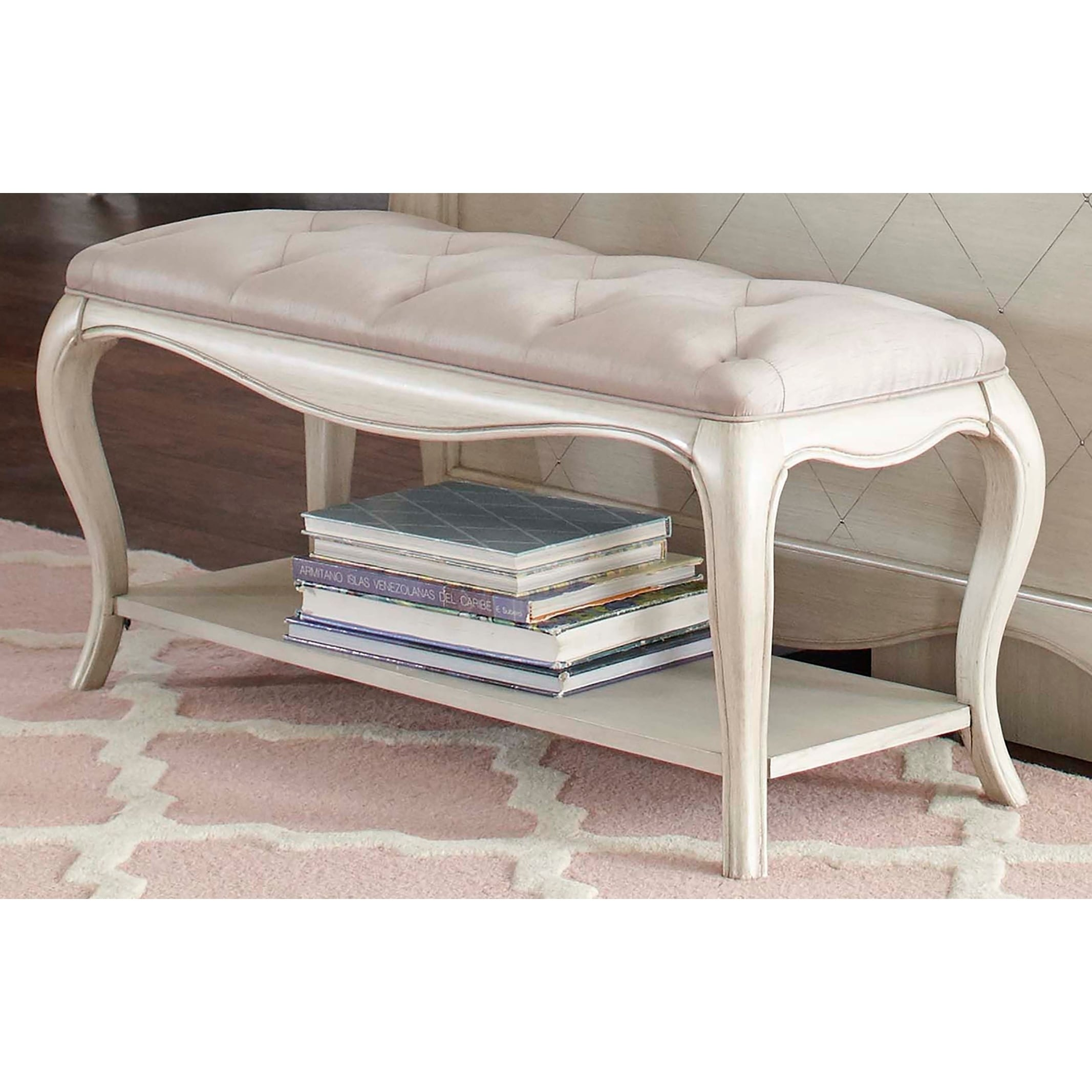 Hillsdale Angela Bed Bench with Tufted Top Opal Grey Free