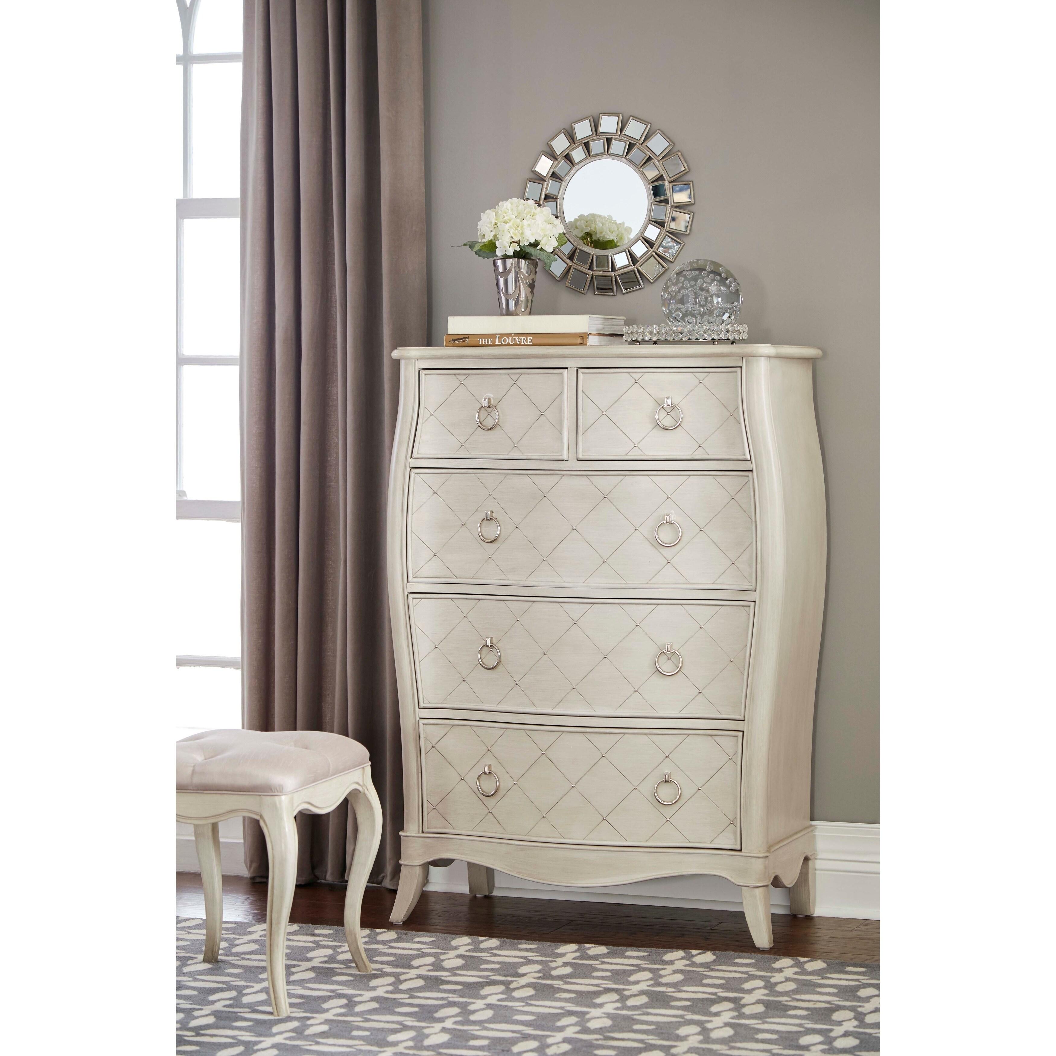 Shop Hillsdale Furniture Angela 5 Drawer Chest Opal Grey On Sale