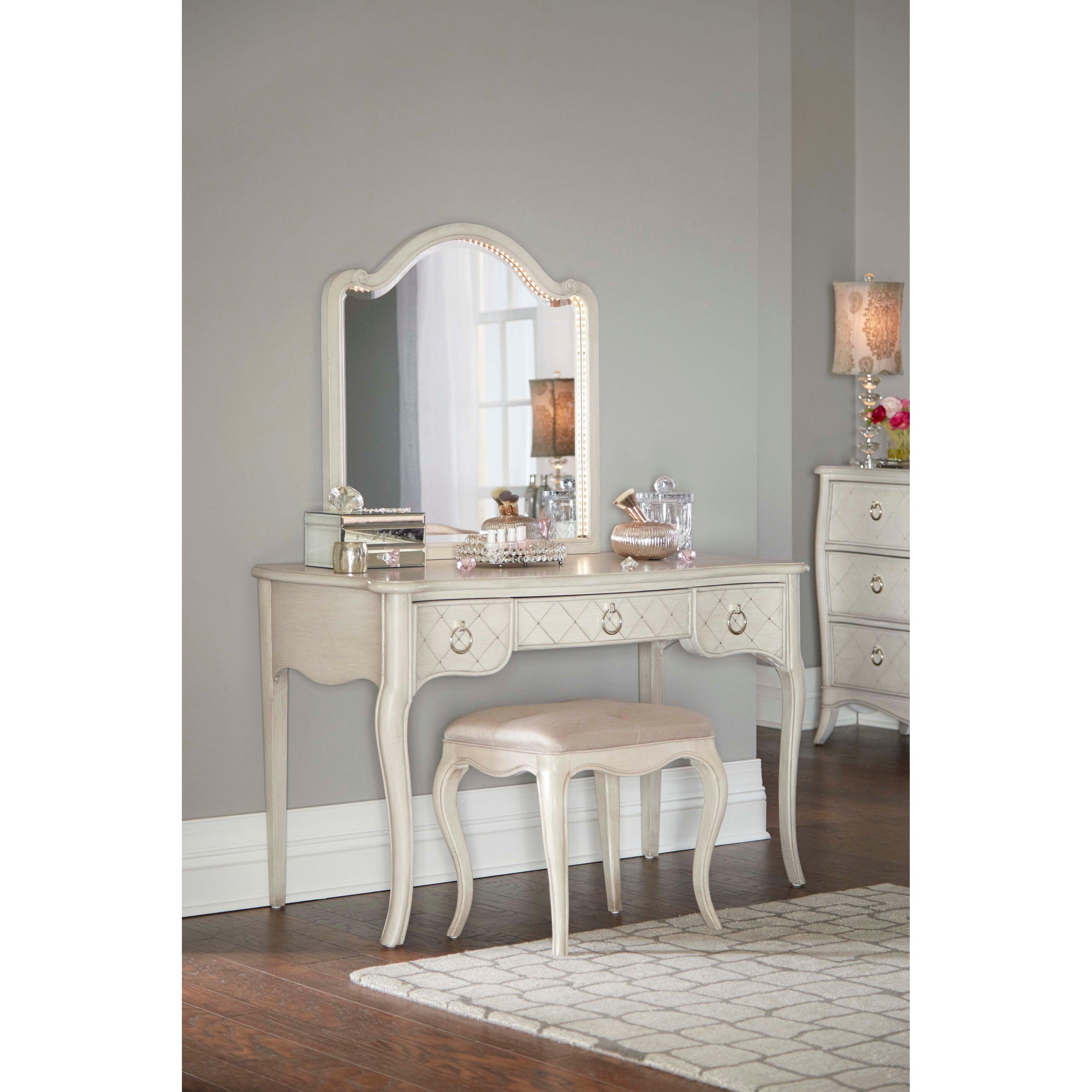 Lighted Vanity Mirror.Hillsdale Angela Desk With Arc Lighted Vanity Mirror And Bench Opal Grey