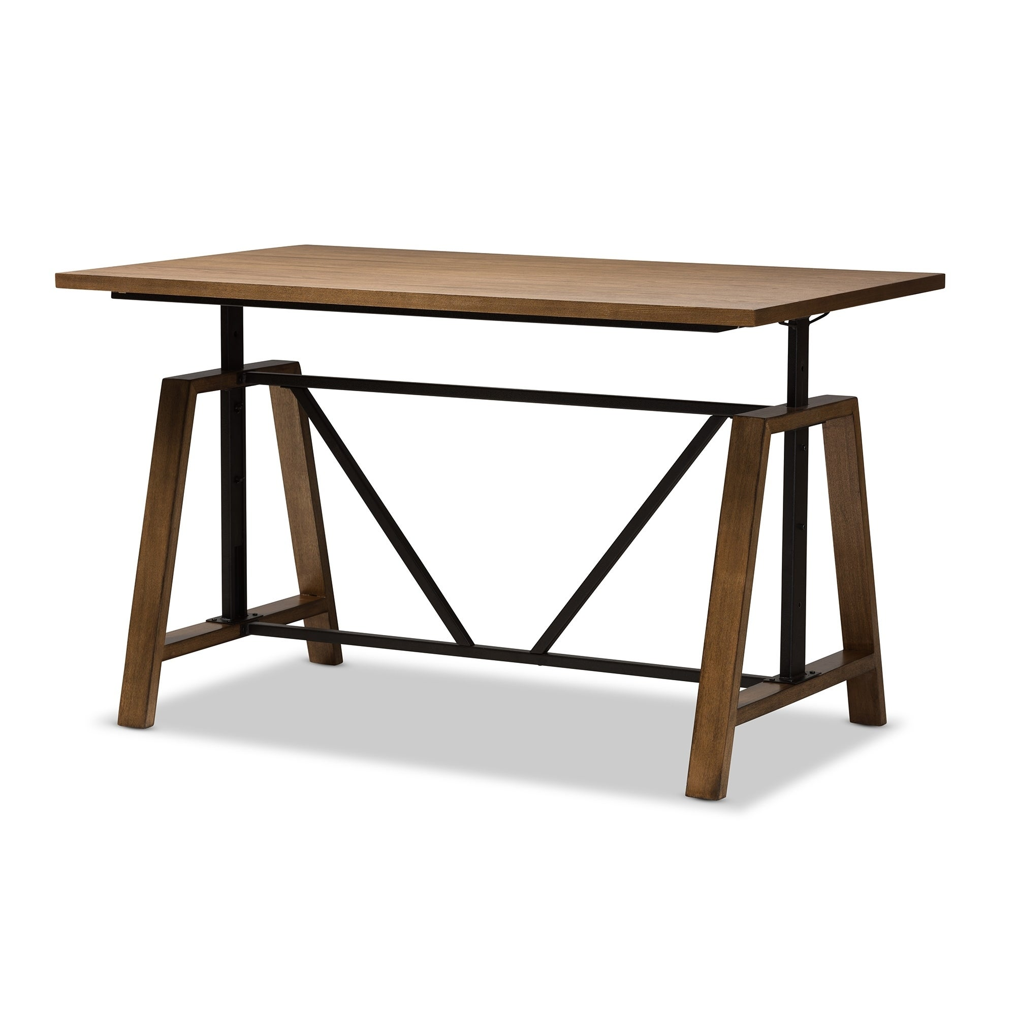 Bon Shop Rustic Industrial Metal And Wood Adjustable Desk By Baxton Studio    Free Shipping Today   Overstock.com   17974378