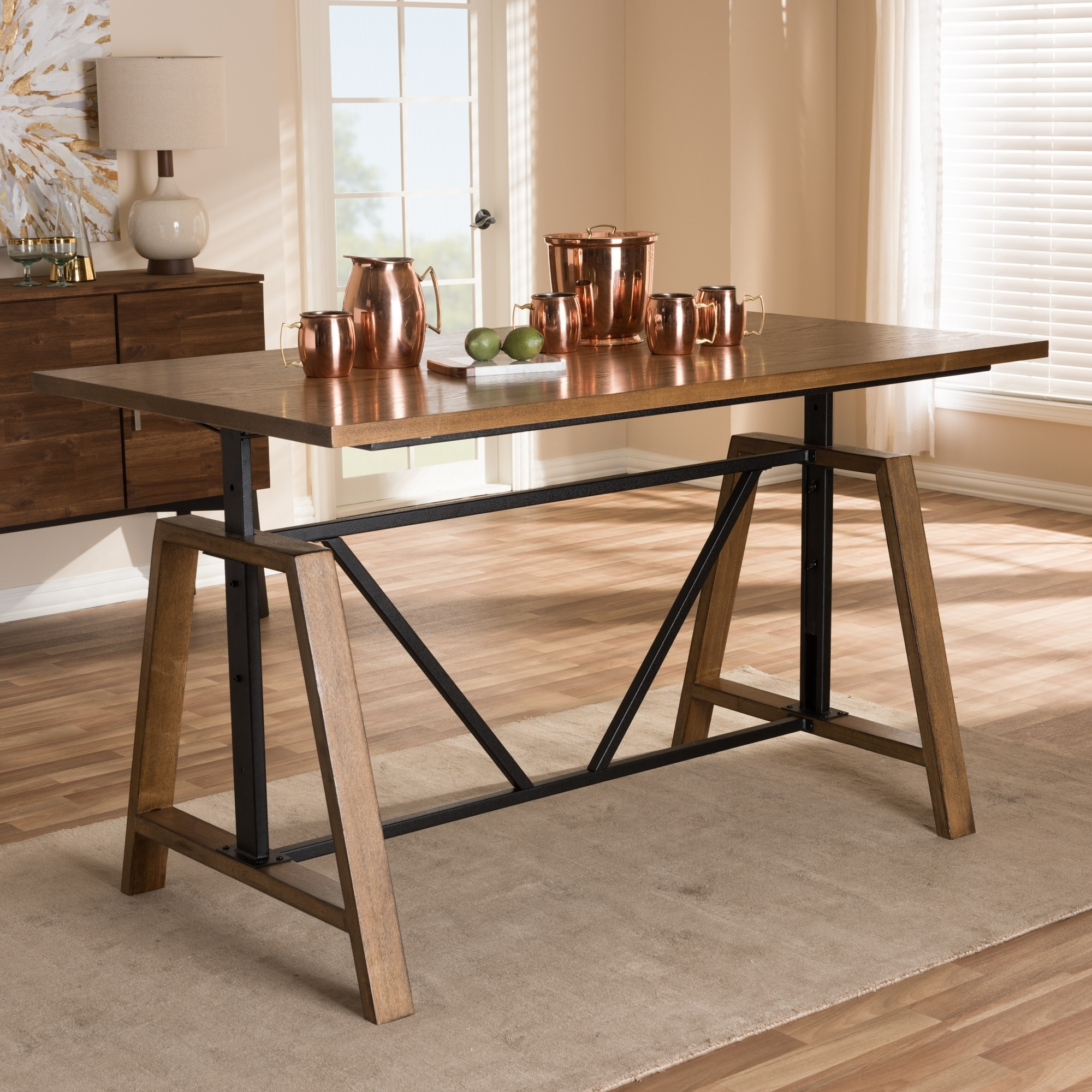 Rustic Metal And Wood Adjule Desk By Baxton Studio Free Shipping Today 17974378
