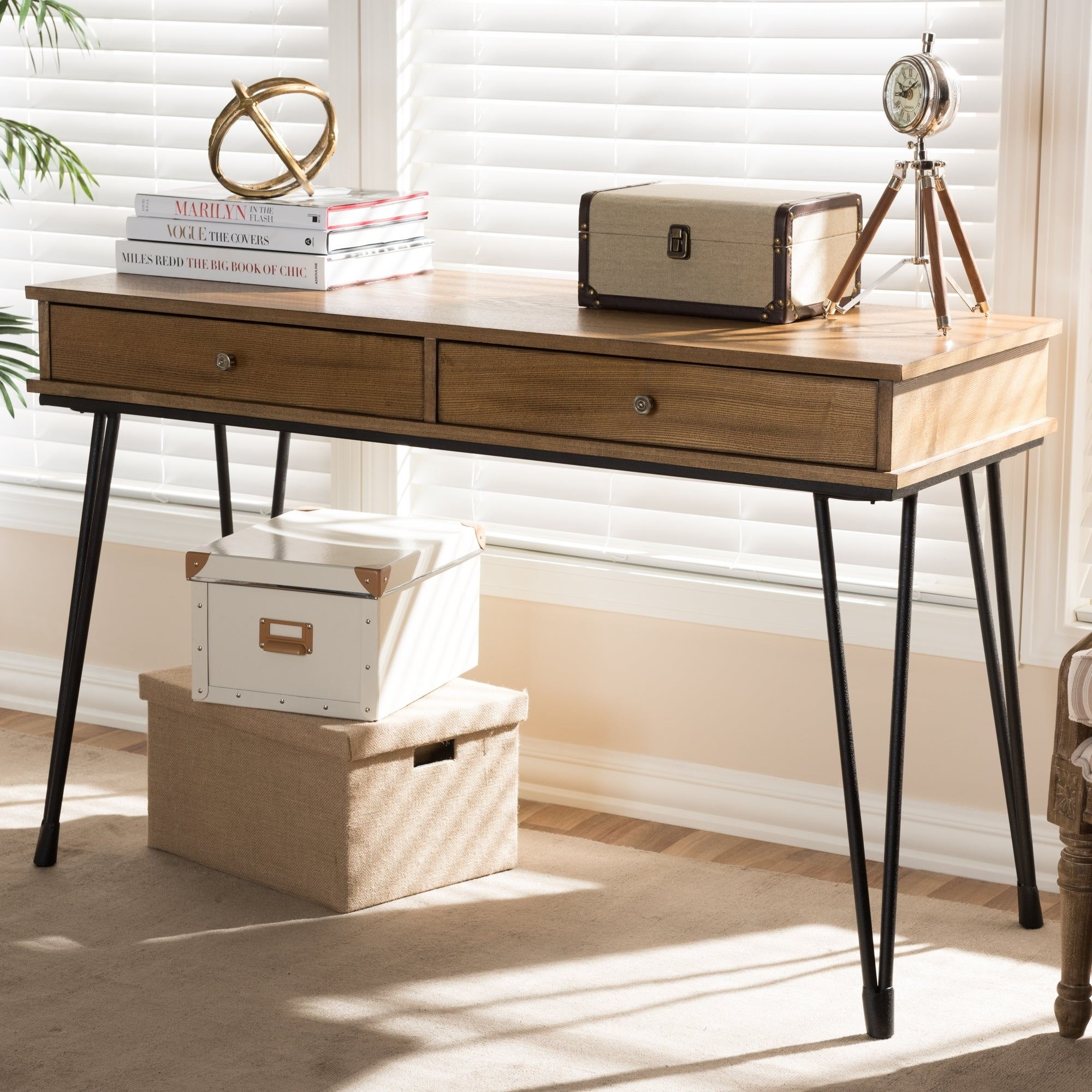 Rustic Metal And Wood 2 Drawer Desk By Baxton Studio On Free Shipping Today 17974379