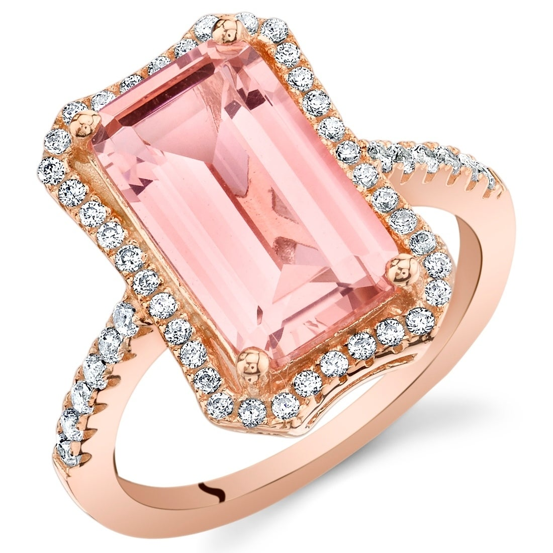 Shop Oravo Simulated Morganite Rose-Tone Sterling Silver Octagon ...