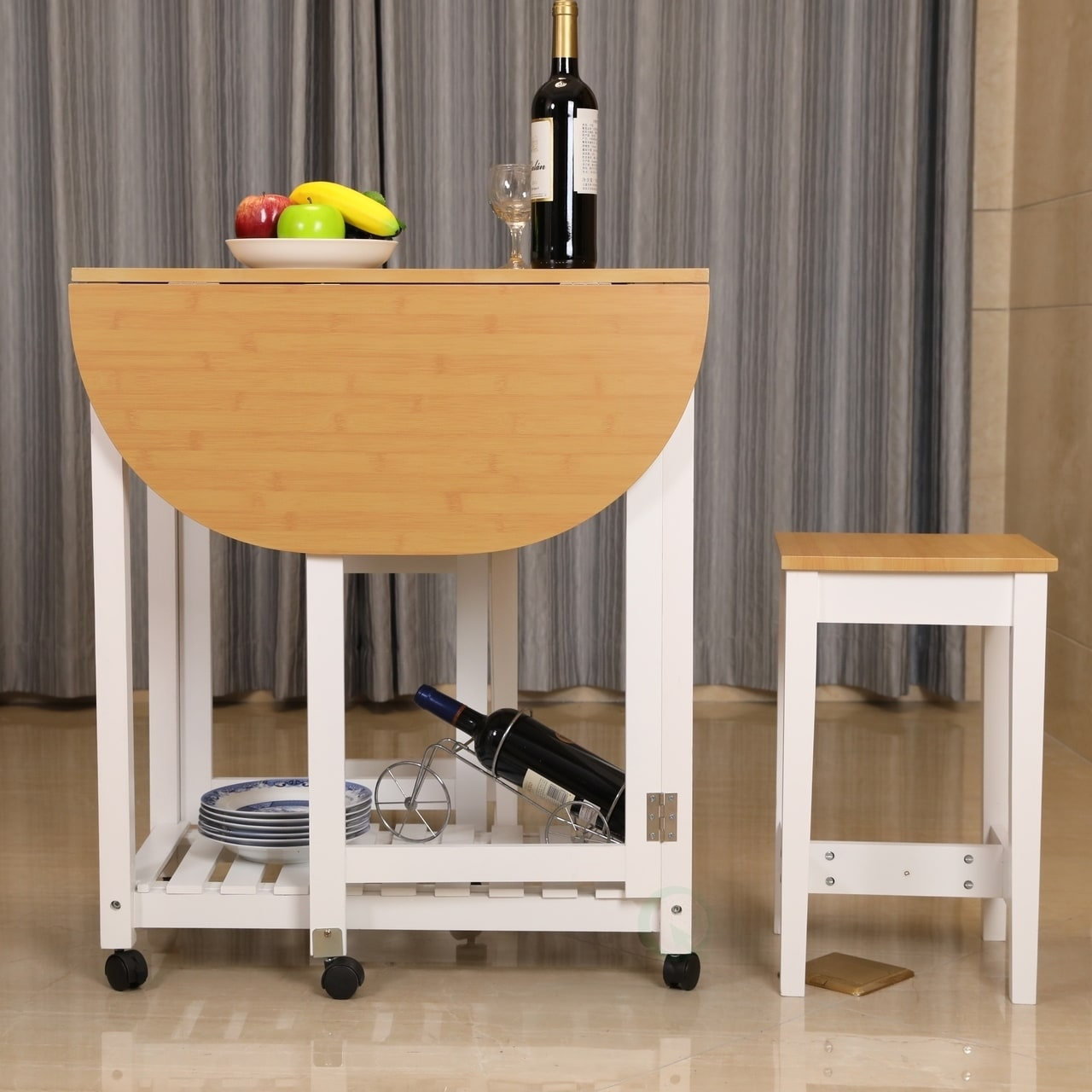 3 Piece Kitchen Island Breakfast Bar Set With Casters Drop Down Table 2 Stools Free Shipping Today 17975287