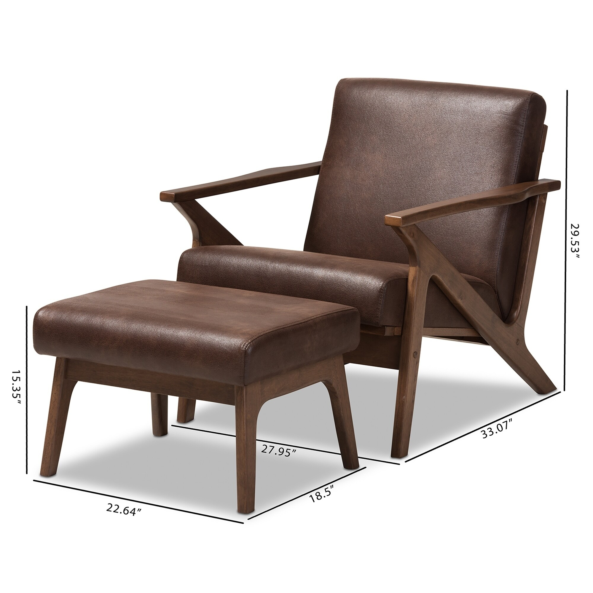 Shop Mid Century Lounge Chair And Ottoman Set By Baxton Studio   On Sale    Free Shipping Today   Overstock   17975300