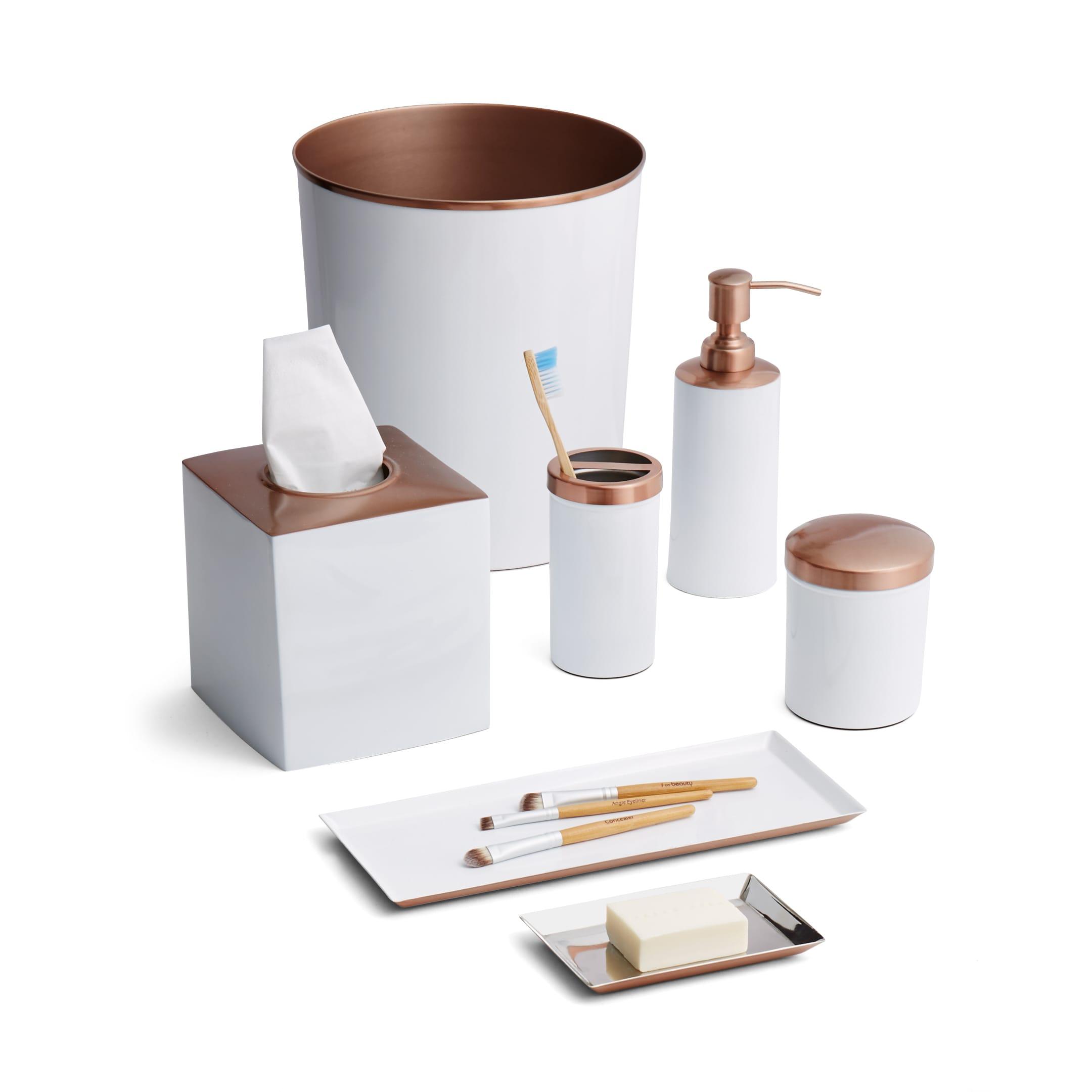 Tuxedo White/Rose Gold 7-Piece Bath Set - Free Shipping Today ...