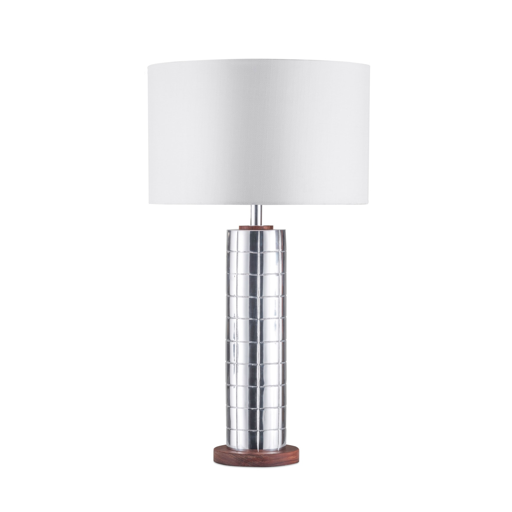 Shop Nova Lighting Lattice Aluminum White Linen Shade Table Lamp